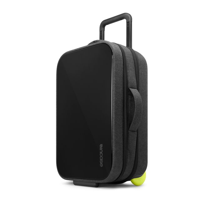 <b>Incase</b> Hardshell roller with technology compartment. $300; www.goincase.com.