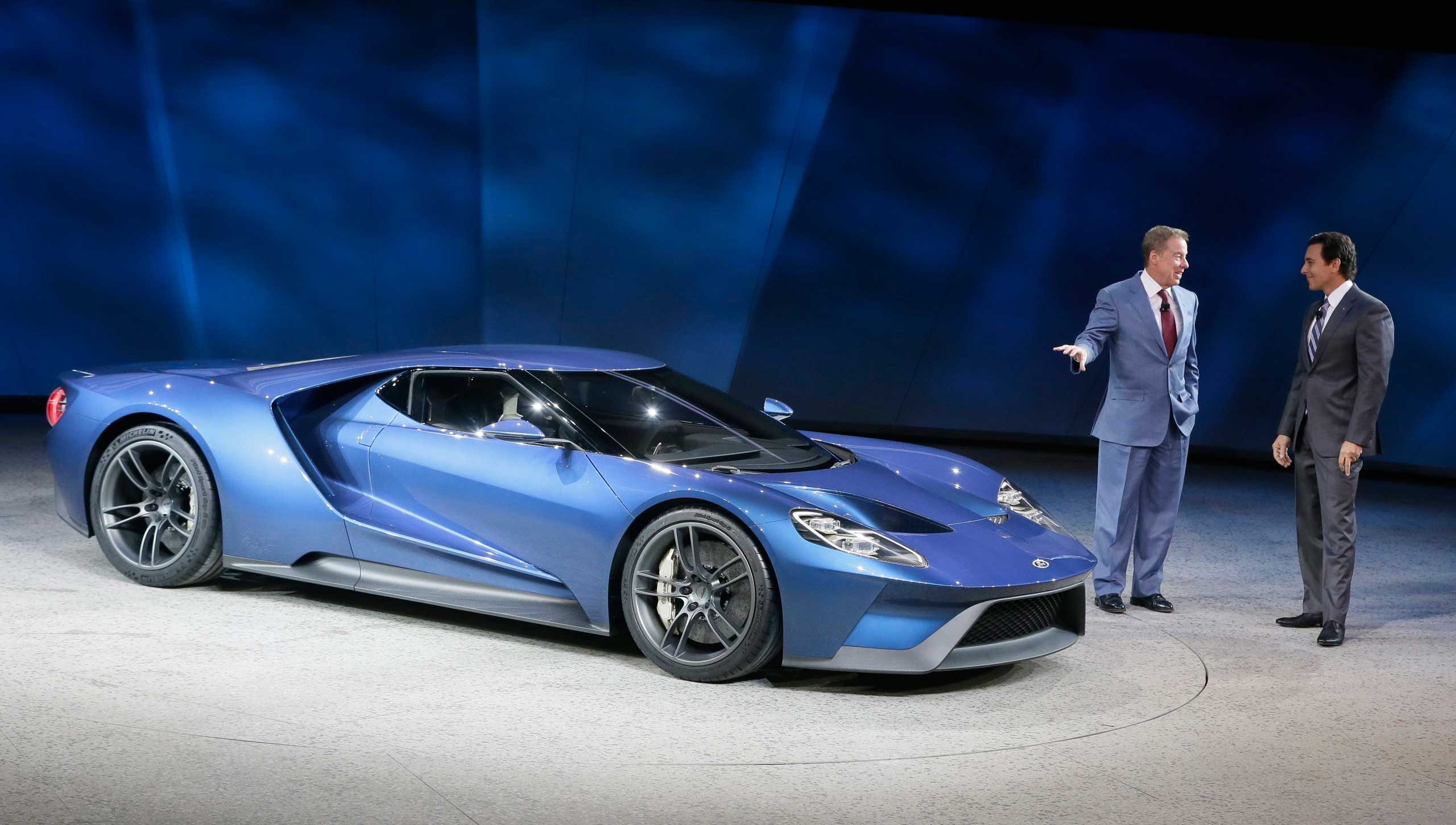 Ford Motor Co., Executive Chairman Bill Ford, left, and President and COO Mark Fields stand next to the new Ford GT on Jan. 12, 2015 in Detroit.