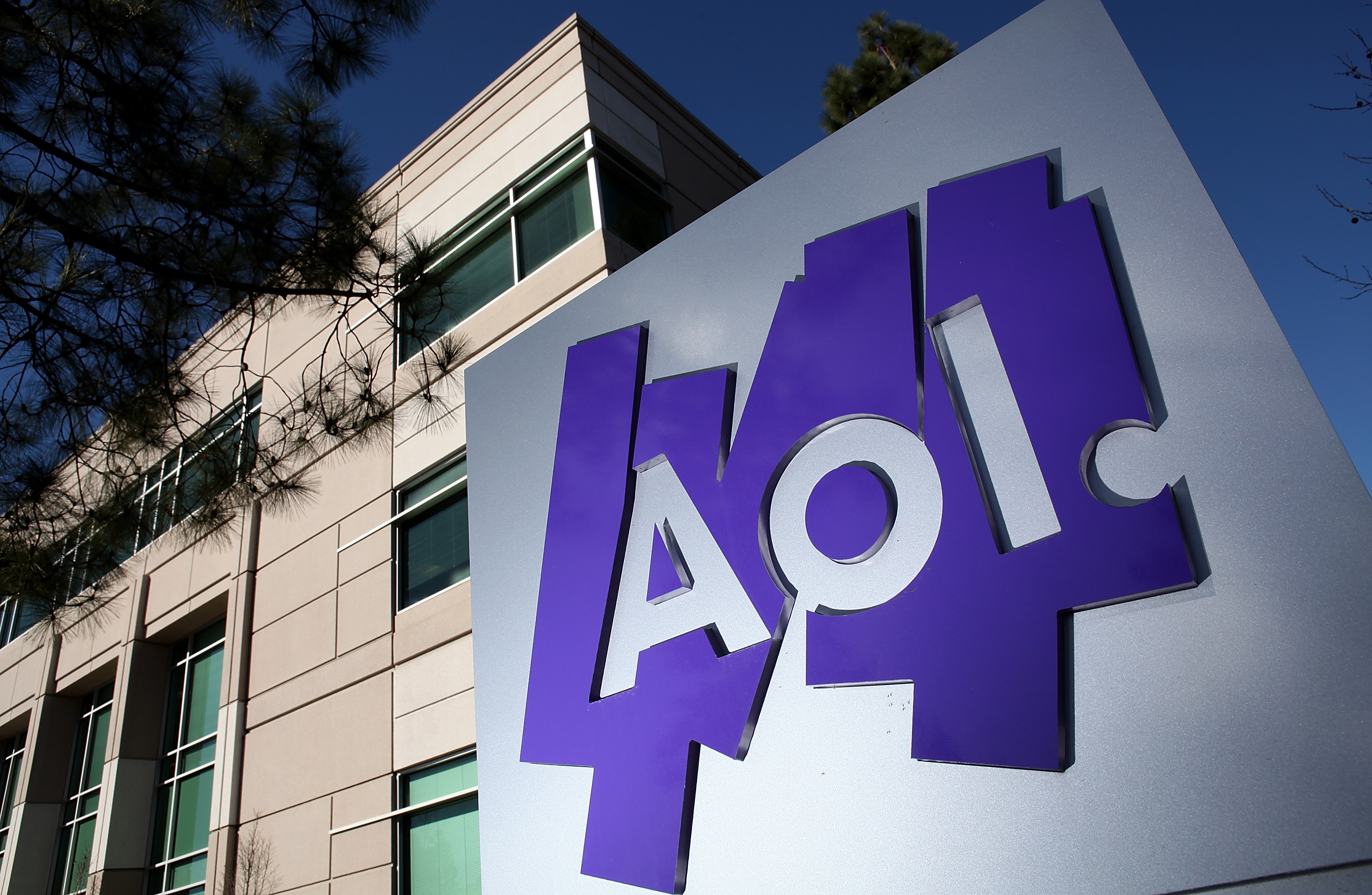 The AOL logo is posted on a sign in front of the AOL Inc. offices on February 7, 2011 in Palo Alto, California.
