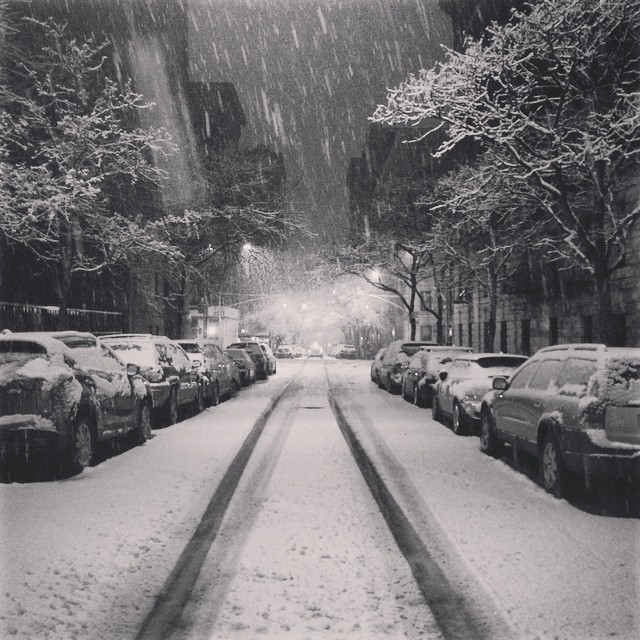 """Caroline Sollmann posted this image to Instagram of New York City's Upper East Side, writing """"Today's 3am snowfall ❄️"""""""
