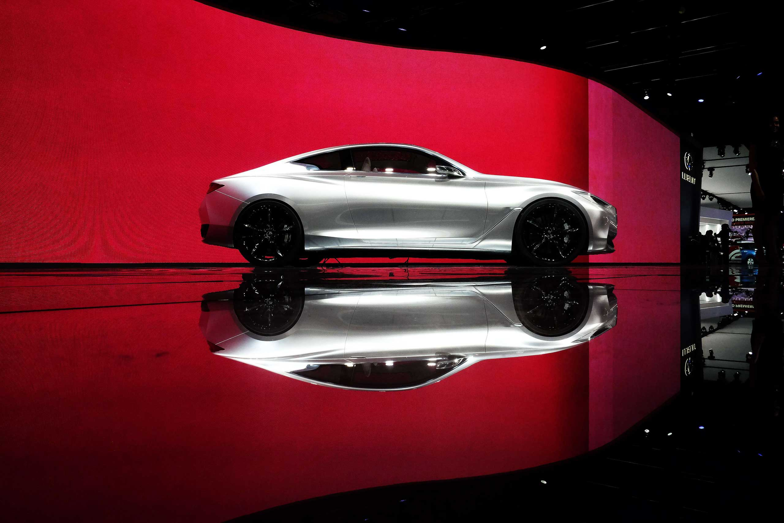 The Infinity Q60 concept car is displayed during the press preview on Jan. 13, 2015 in Detroit.