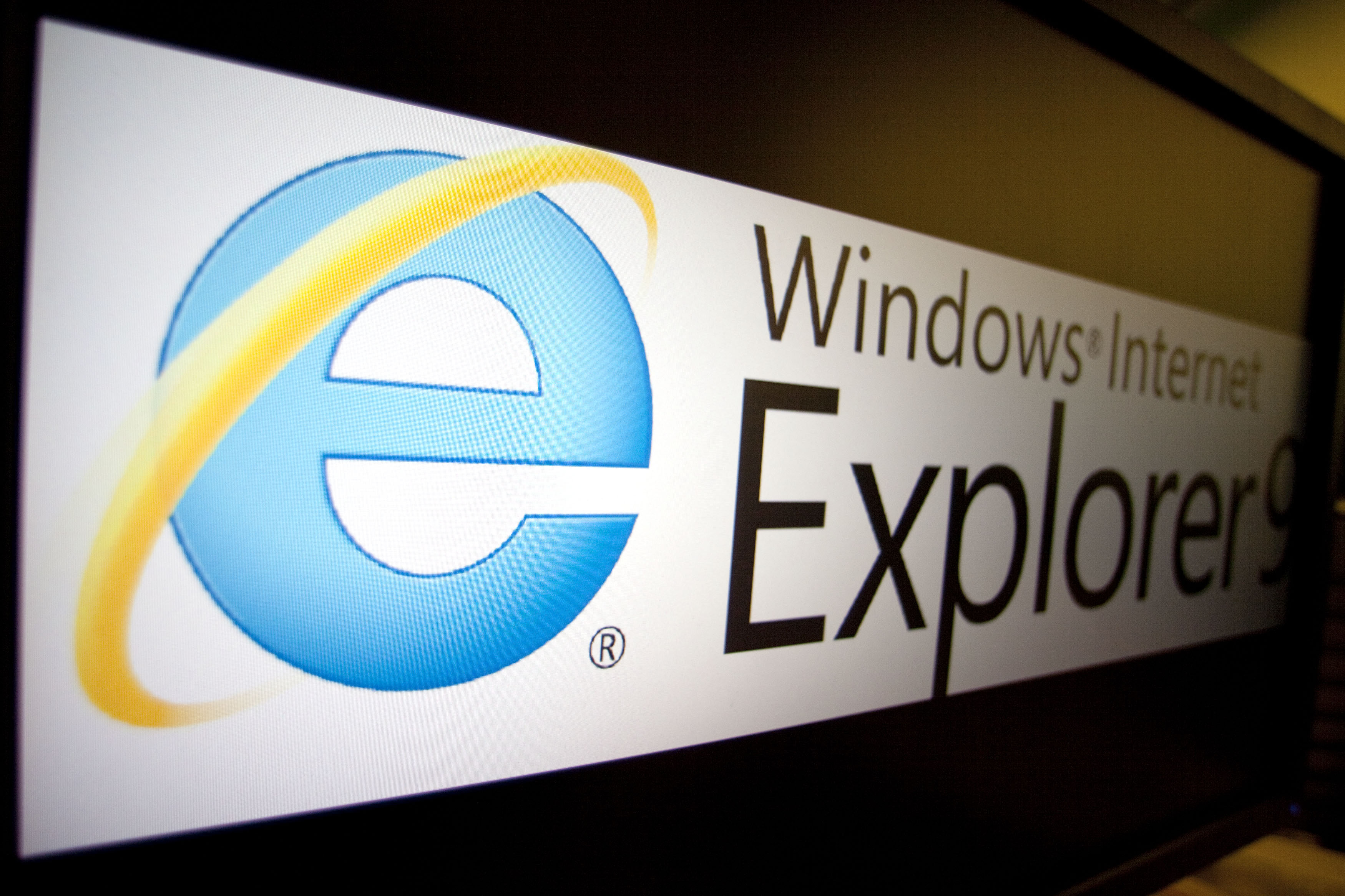 The logo of Microsoft Corp.'s Internet Explorer 9 is displayed on a computer monitor in Washington, D.C., U.S., on Tuesday, March 15, 2011.