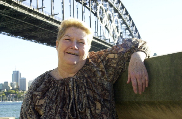 Australian author Colleen McCullough in front of the Sydney Harbour Bridge on Aug. 31, 2000 in Sydney, Australia