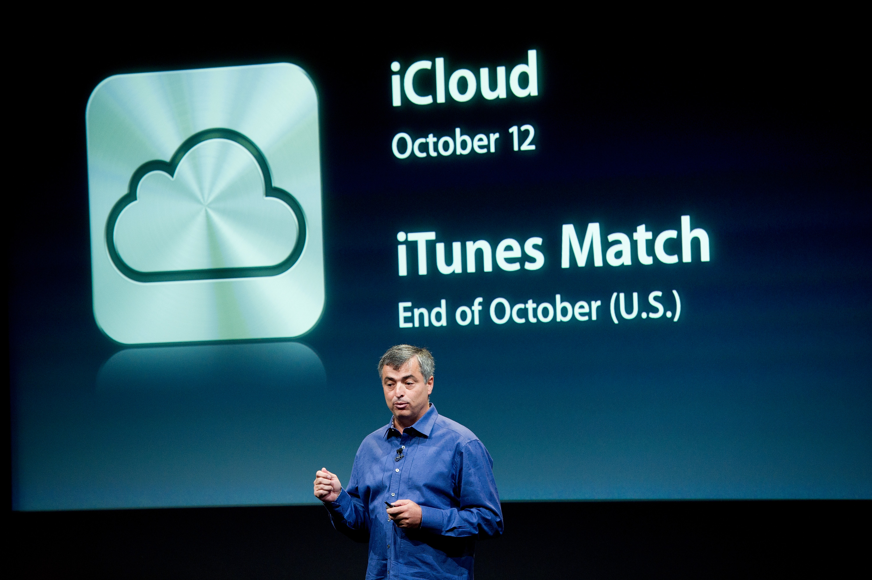 Eddie Cue, senior vice president of Internet Software and Services at Apple Inc., speaks about new features of the iCloud service during an event at the company's headquarters in Cupertino, California, U.S., on Tuesday, Oct. 4, 2011.