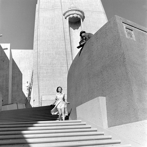 At the scene of the 1939-1940 Golden Gate International Exposition, San Francisco, 1938.