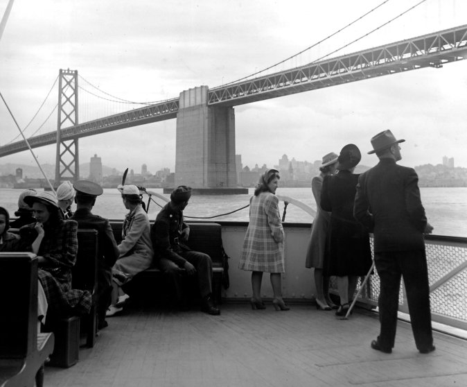 Ferry near the the San Francisco-Oakland Bay Bridge, 1941.