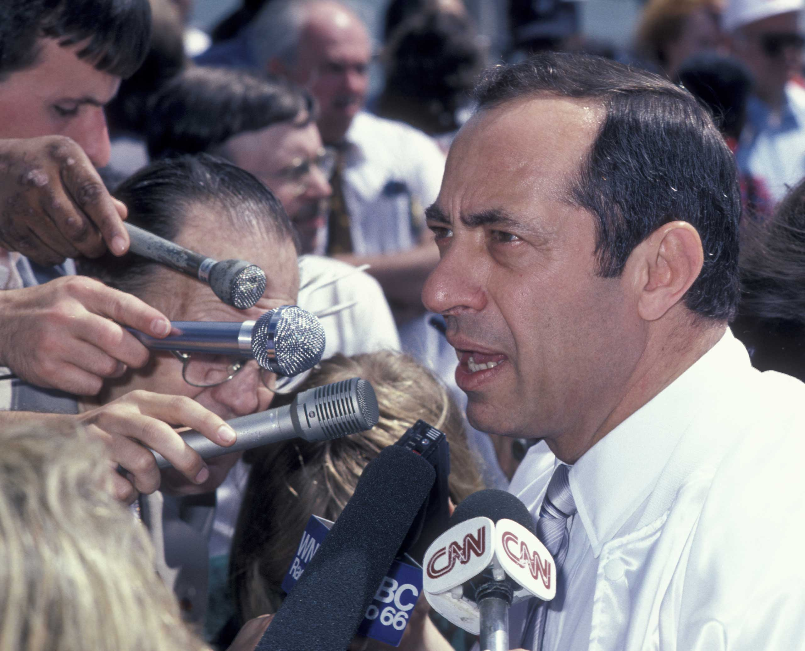 Mario Cuomo attends Hands Across America Benefit in Los Angeles on May 25, 1986.