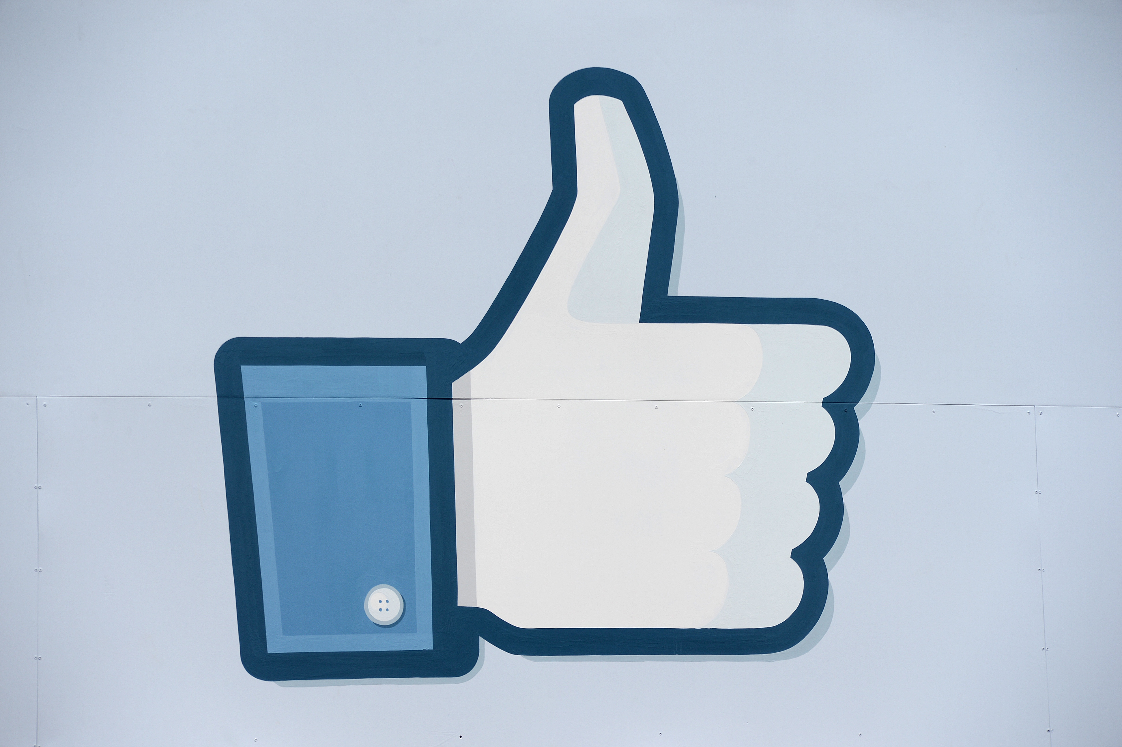 A thumbs up or  Like  icon at the Facebook main campus in Menlo Park, California, May 15, 2012.