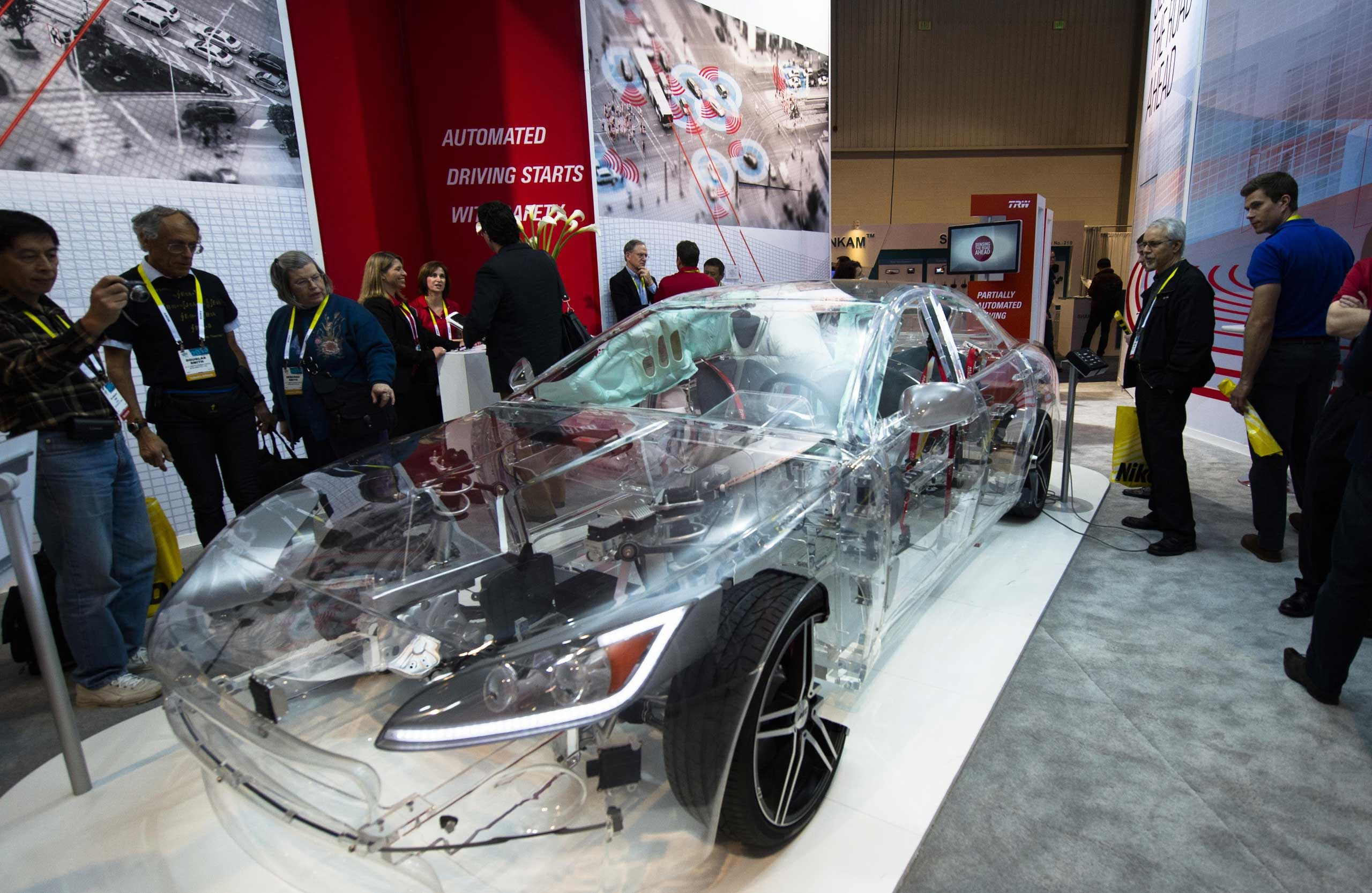 A transparent TRW model car is seen on Jan. 6, 2015.