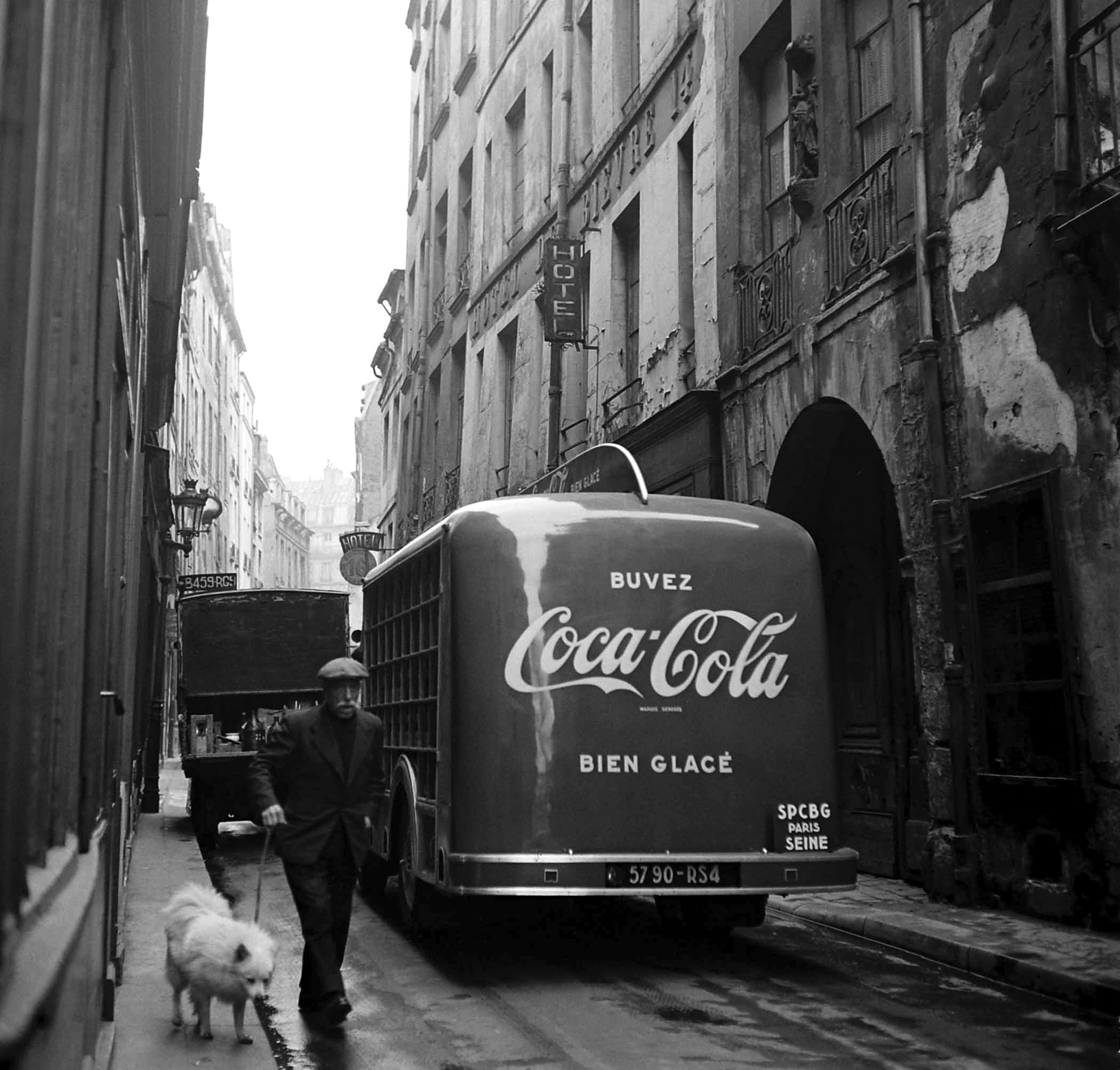 A Coke truck makes its rounds in 1950 France.