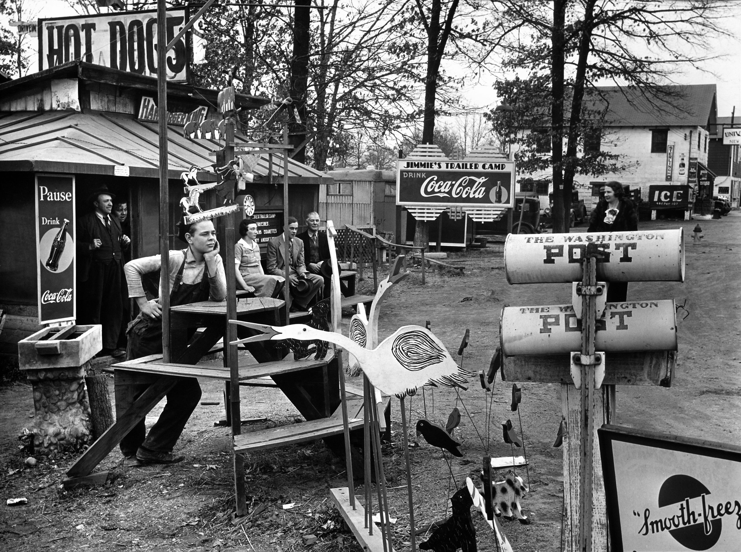 Coca-Cola is on sale at Jimmie's Trailer Camp on U.S. 1, outside of Washington, D.C., in 1938.