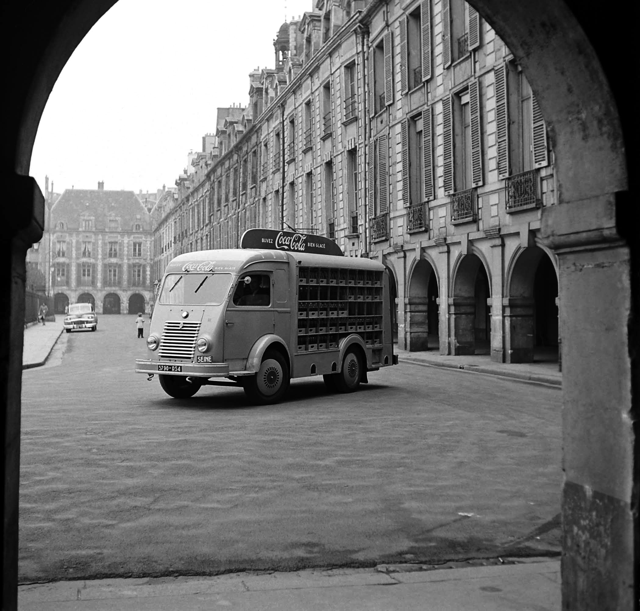 A French Coca-Cola truck pauses on its route in 1950.