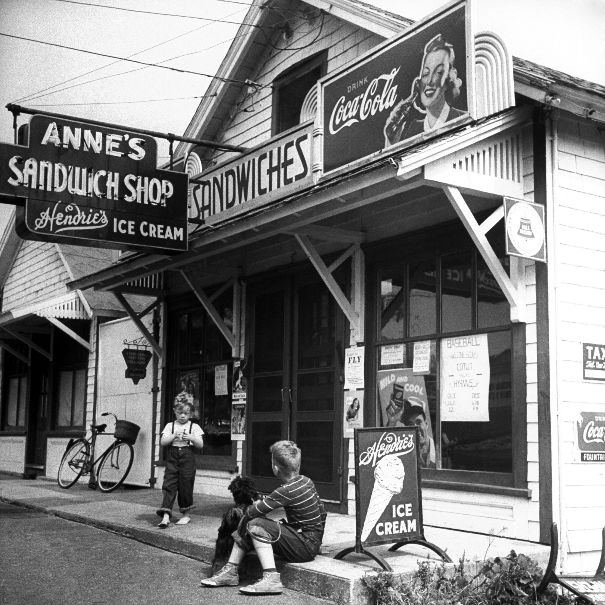 A Coca-Cola sign at Anne's Sandwich Shop on Cape Cod, during the summer of 1946.