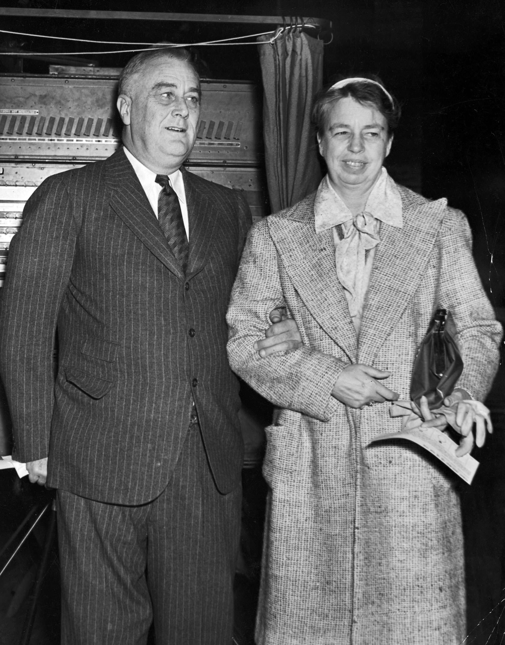 President Franklin D. Roosevelt with his wife Eleanor voting in a Hyde Park polling station, 1937.