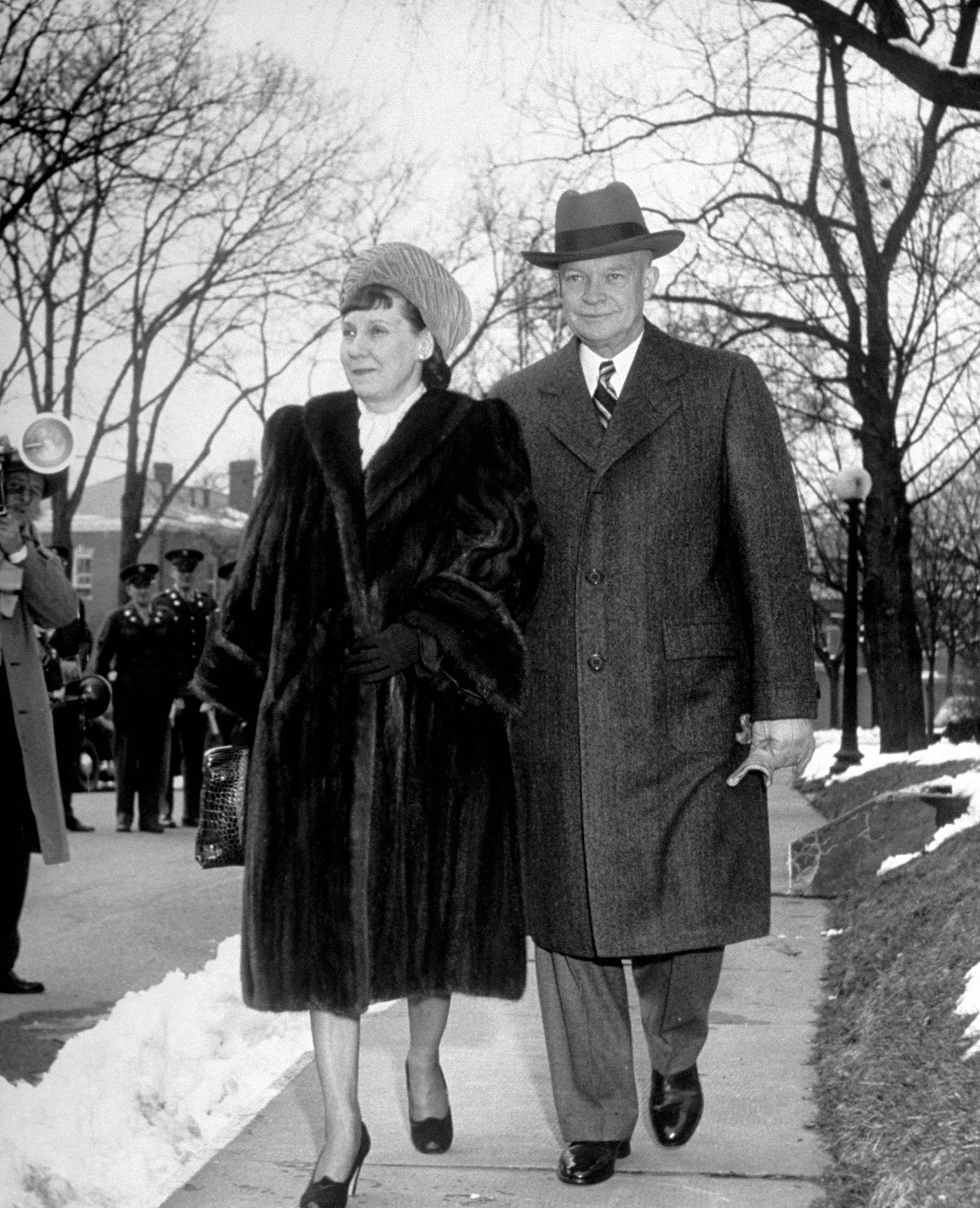 General Dwight D. Eisenhower walking with his wife Mamie, 1948.