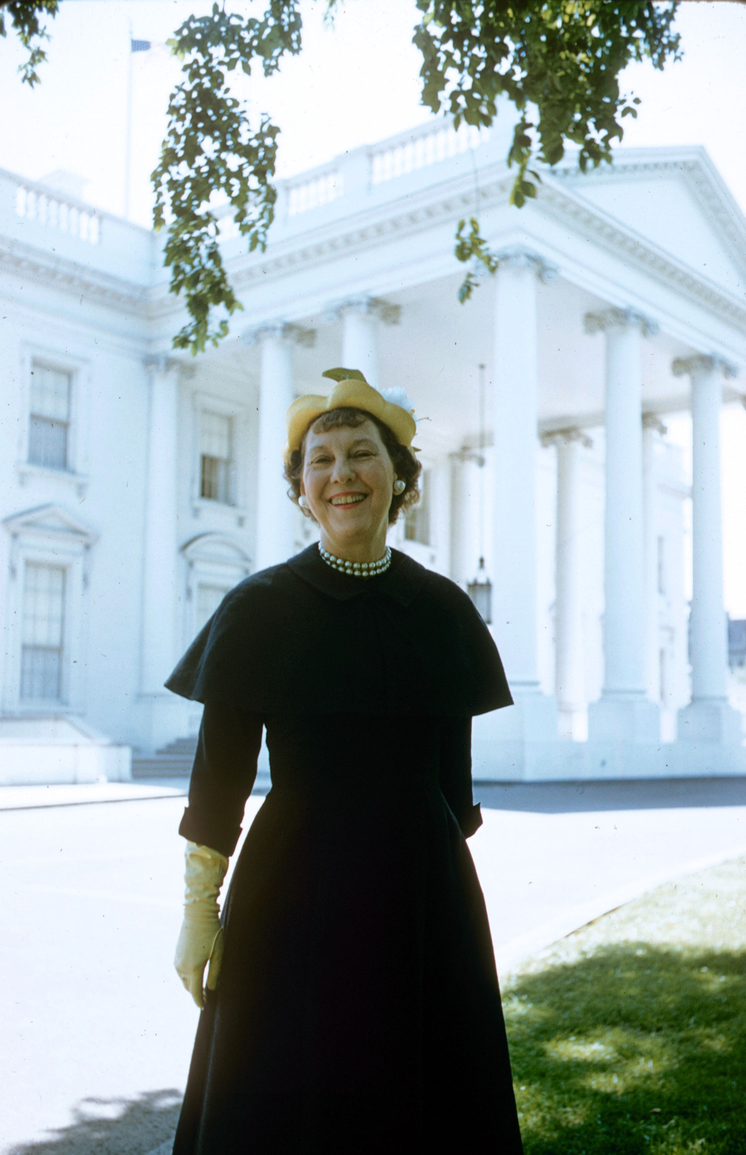 Mamie Eisenhower at the North Portico, 1958. Featured on the cover of LIFE.