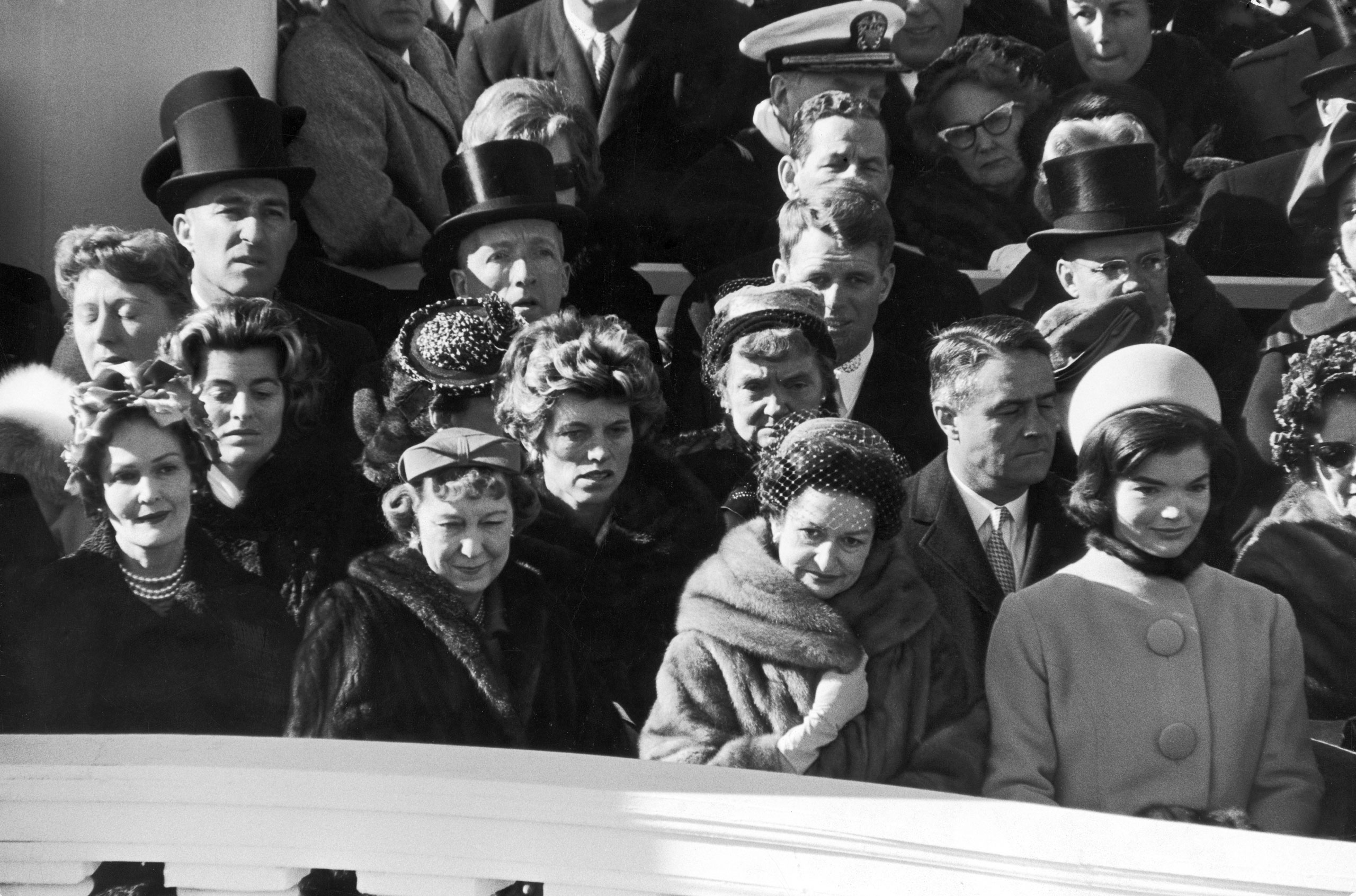 Four past, present and future first ladies at President John F. Kennedy's inauguration ceremony, including (L-R) Pat Nixon, Mamie Eisenhower, Lady Bird Johnson and new First Lady Jacqueline Kennedy, 1961.