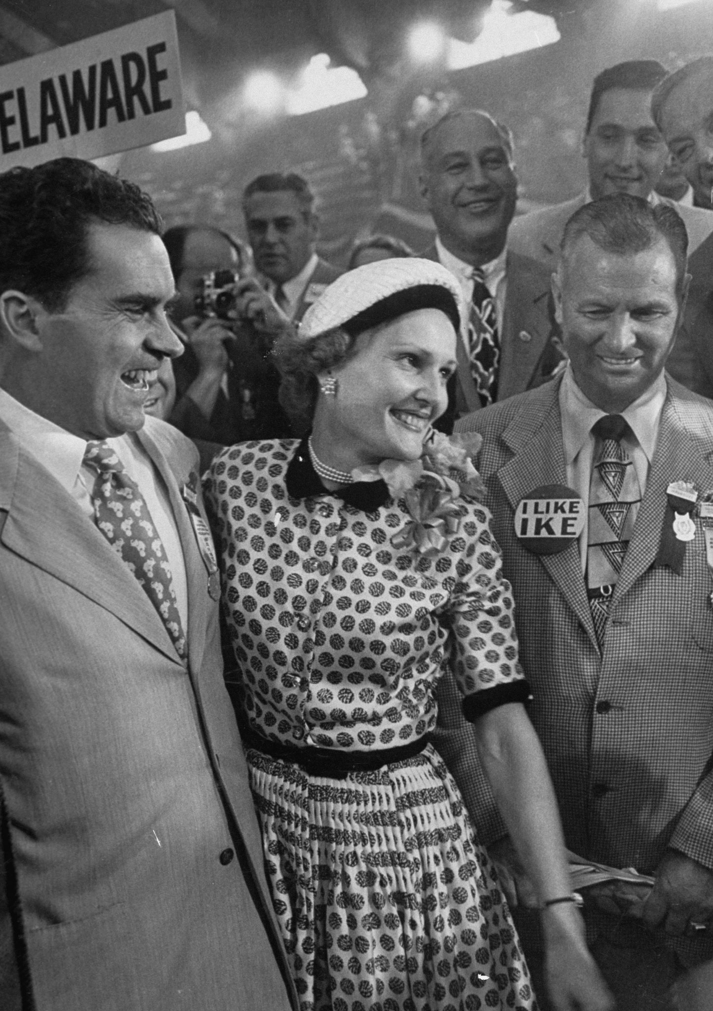Richard M. Nixon and his wife Pat talking with photographers during the 1952 convention.