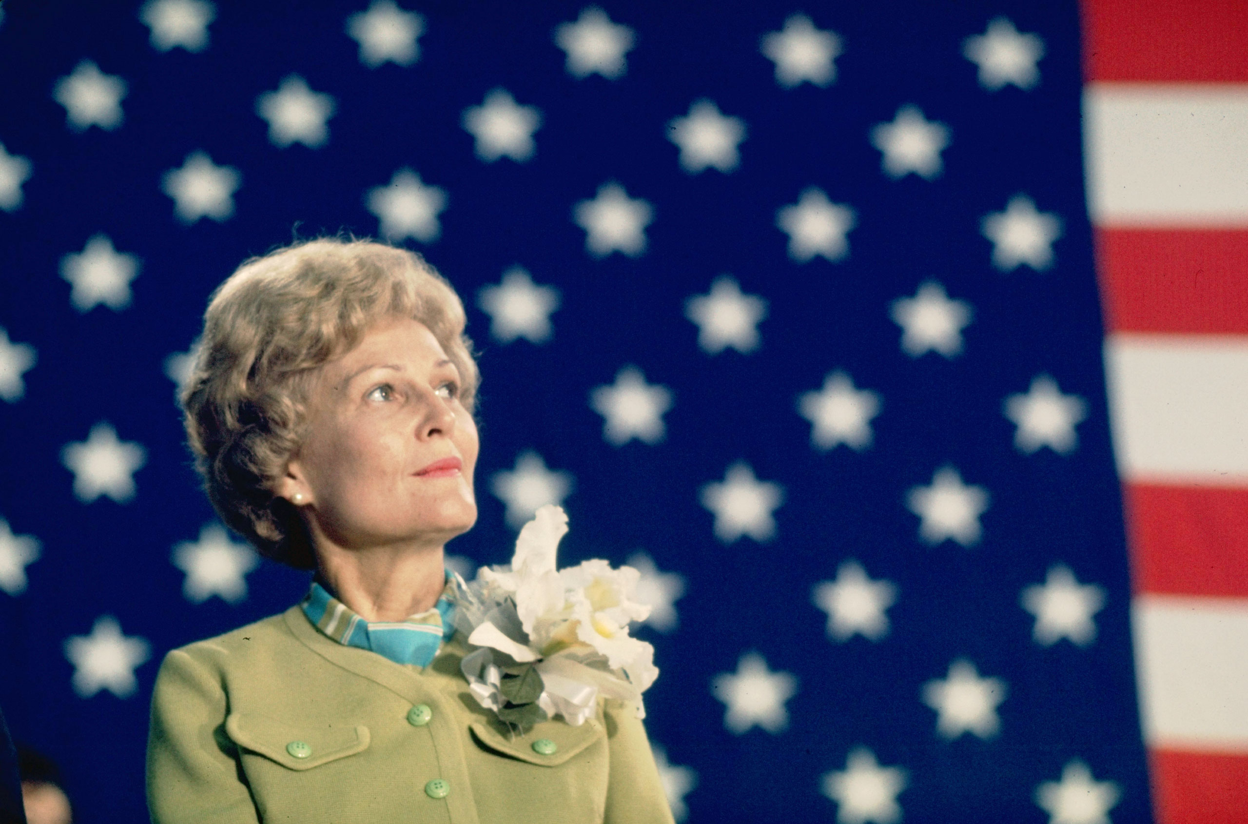Pat Nixon, wife of presidential candidate Richard Nixon, on the campaign trail, 1968.