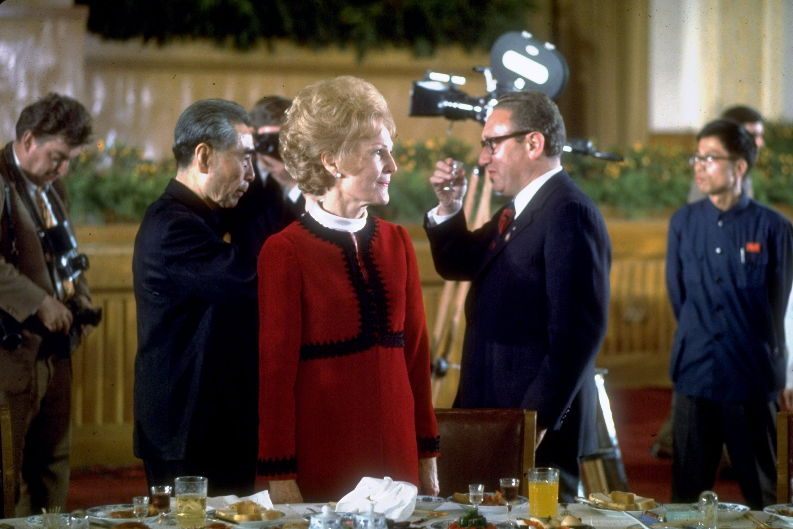 Chinese premier Chou-En-Lai, First Lady Pat Nixon and Secretary of State Henry Kissinger during Nixon's visit to China, 1972.