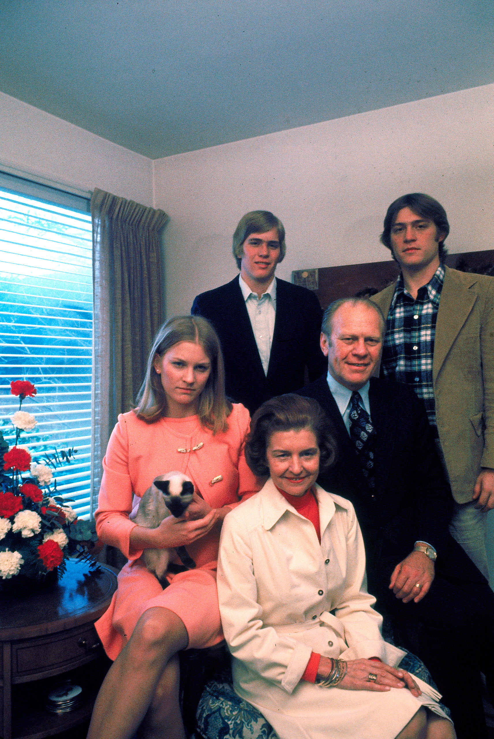 Newly appointed Vice President Gerald R. Ford with wife Betty and (clockwise from L) daughter Susan, sons John and Steve at home, 1973.