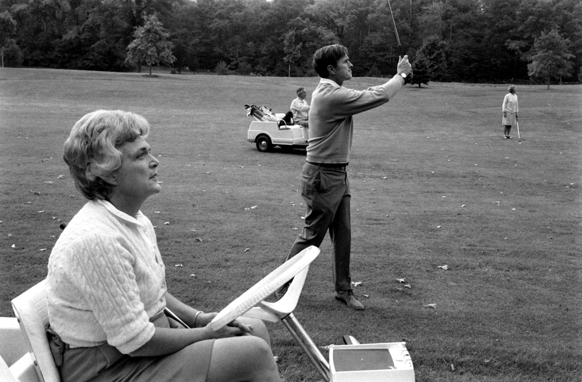 Future First Lady Barbara Bush on the golf course, 1971.