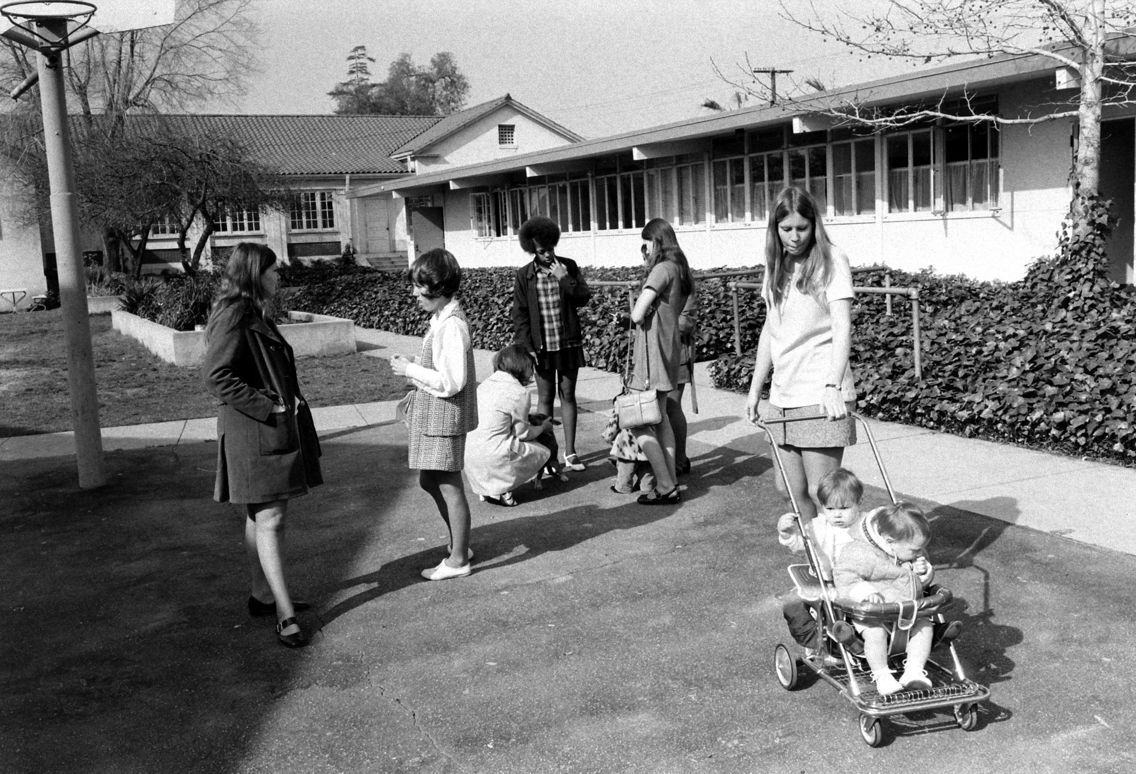 High schoolers with babies, Azusa, Calif., 1971.