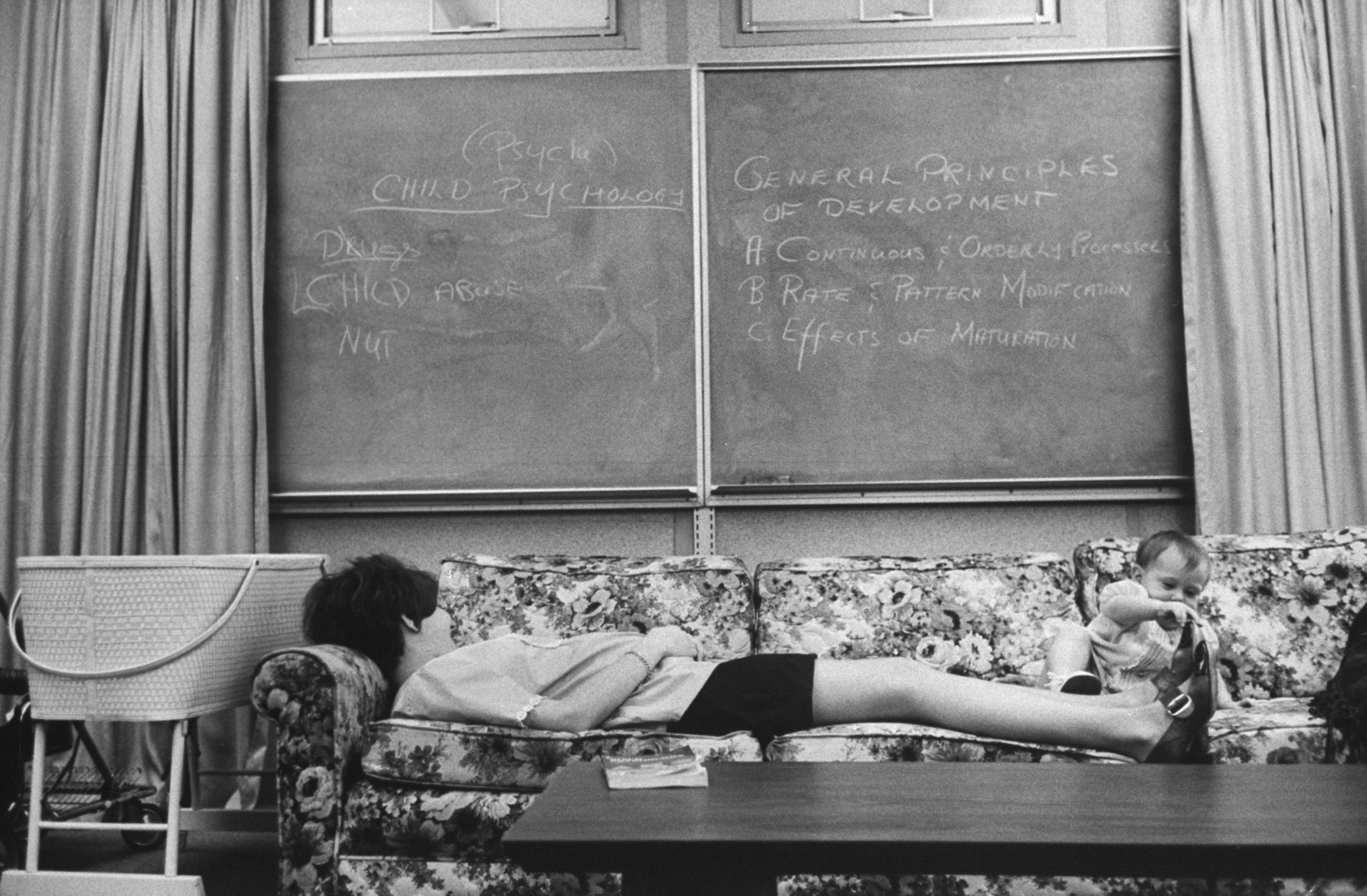 <b>Caption from LIFE.</b> Expectant mothers are allowed to take naps in homemakeing class. Here Lori Cardin, 17 and six months pregnant, tries to catch 40 winks despite playful attention from young Shawn Conger.