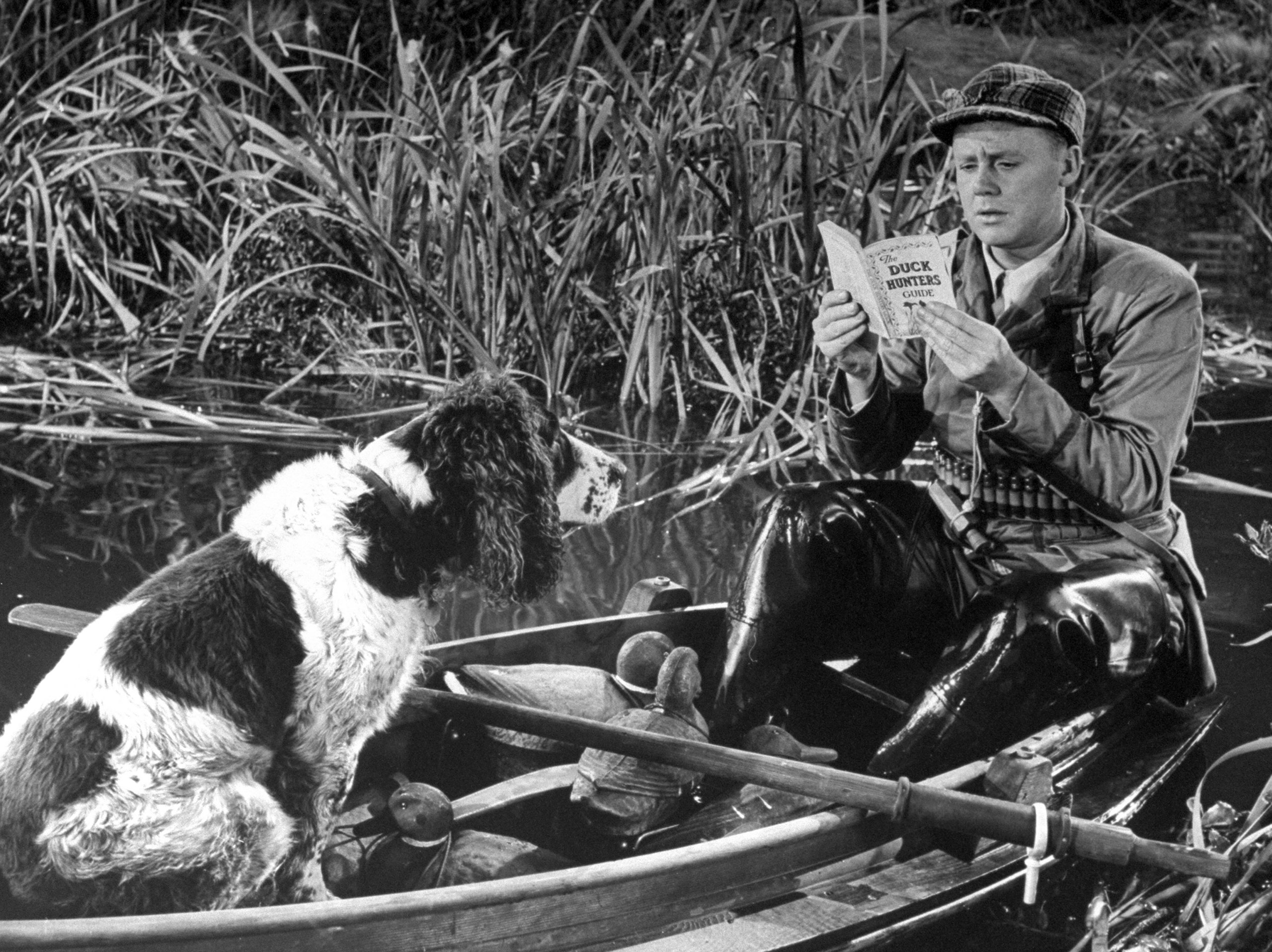 Van Johnson, who was never nominated. Pictured duck hunting in a scene from the movie <i>Early to Bed</i>, 1945.
