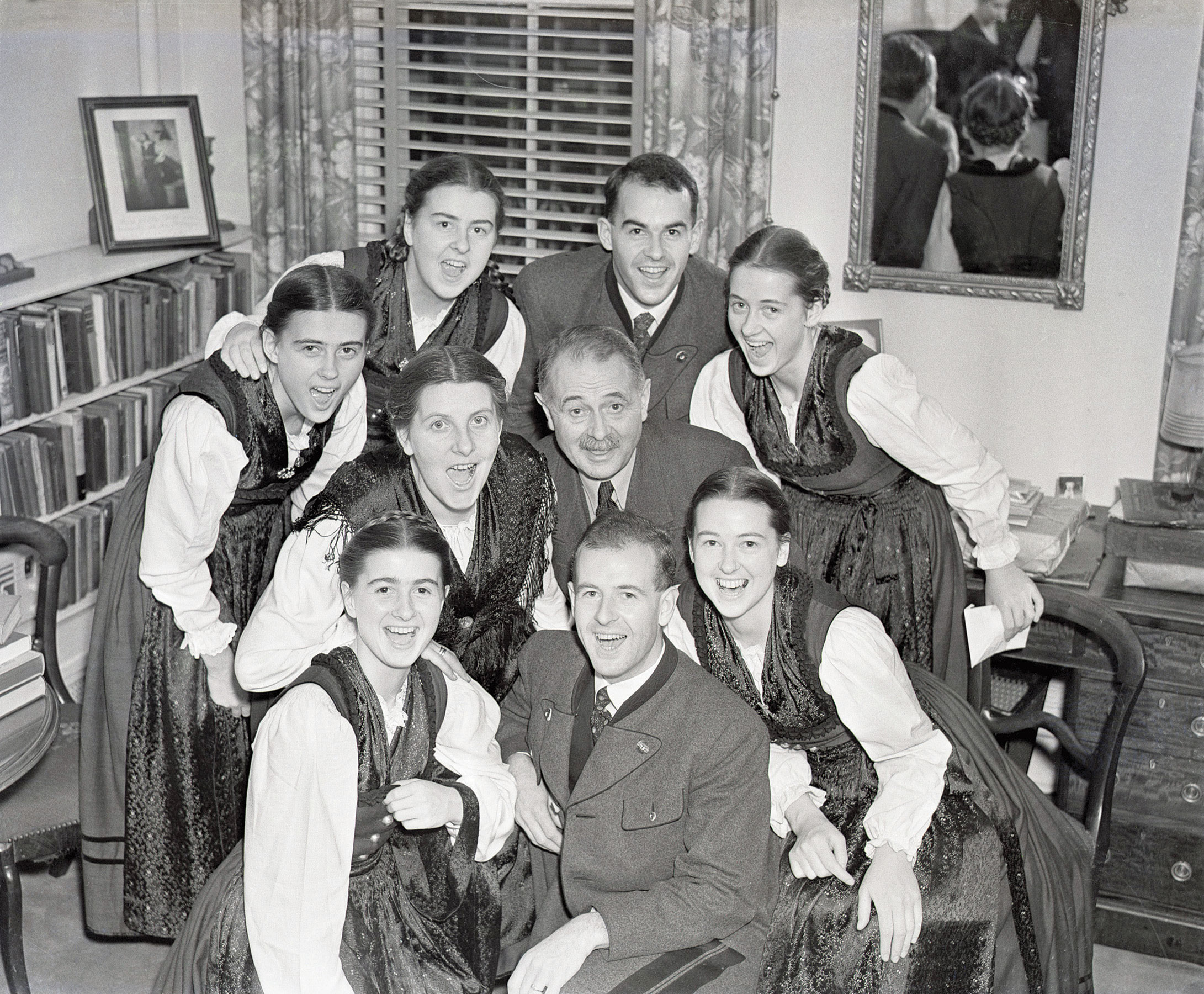 """The Von Trapp Family singers warm up before a performance in New York's Town Hall. The musical """"The Sound of Music"""" was based on their life in Austria. December 5, 1938."""