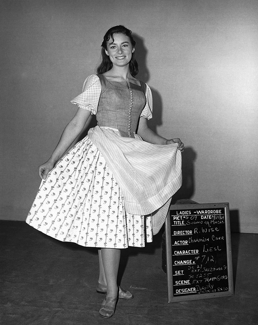 Actress Charmian Carr, who played Liesl von Trapp, in a costume test, 1965.