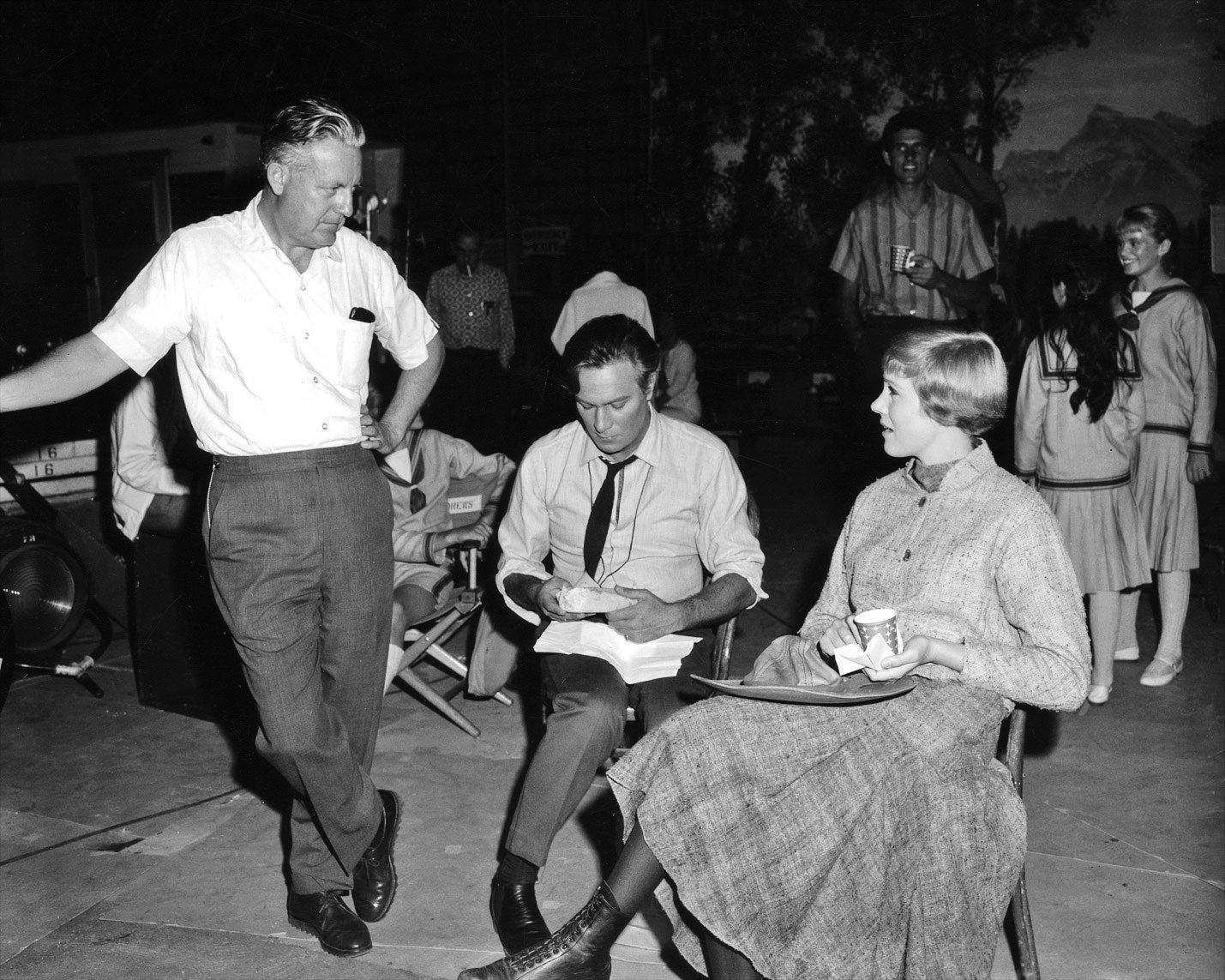 Director Robert Wise with Christopher Plummer and Julie Andrews, on set of <i>The Sound of Music.</i>