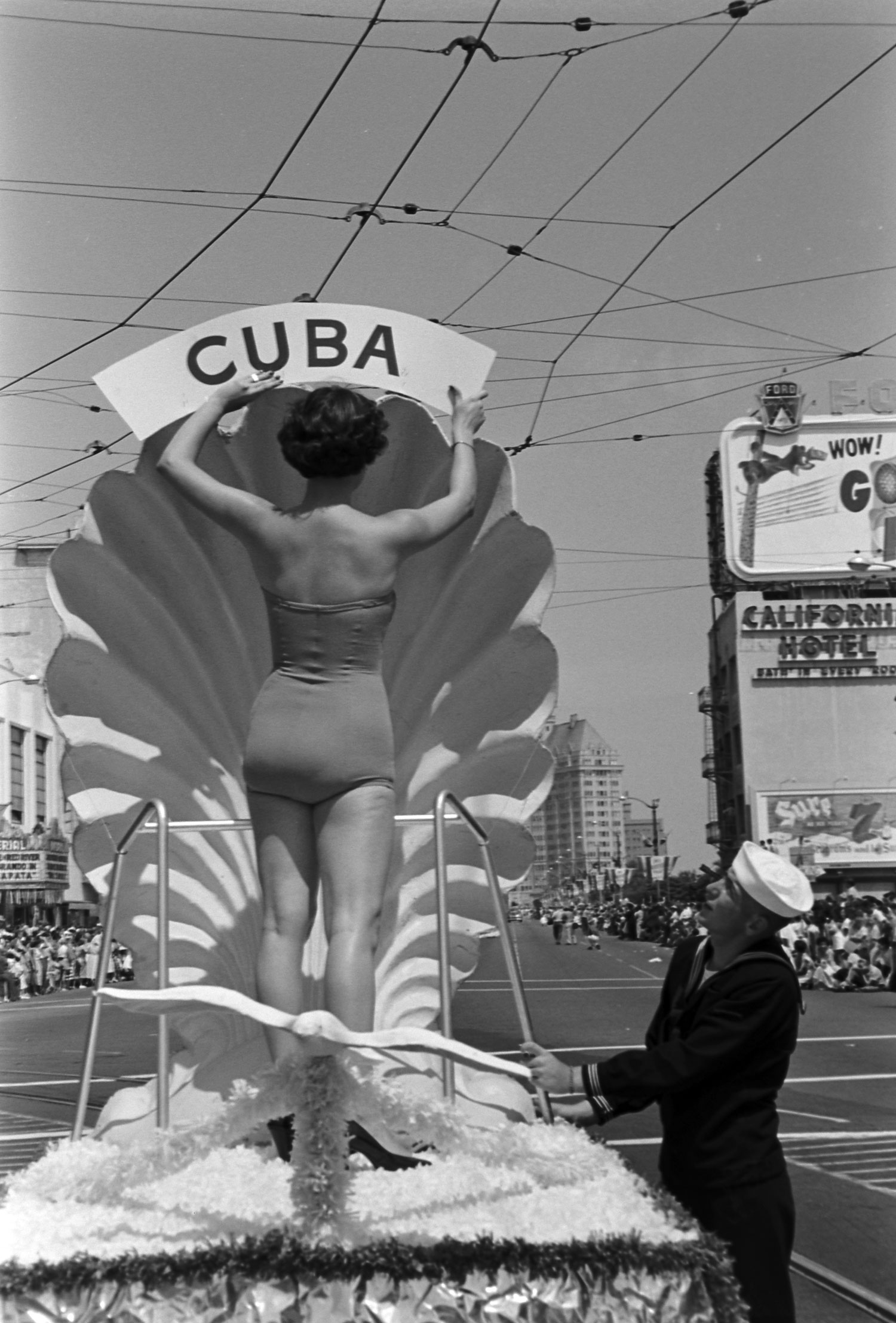 Miss Cuba on a parade float, 1954.