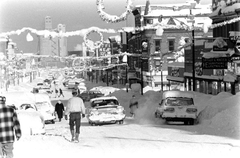Scene from a snow storm in Oswego, New York, on December 1958 that dropped over 6 feet of snow.