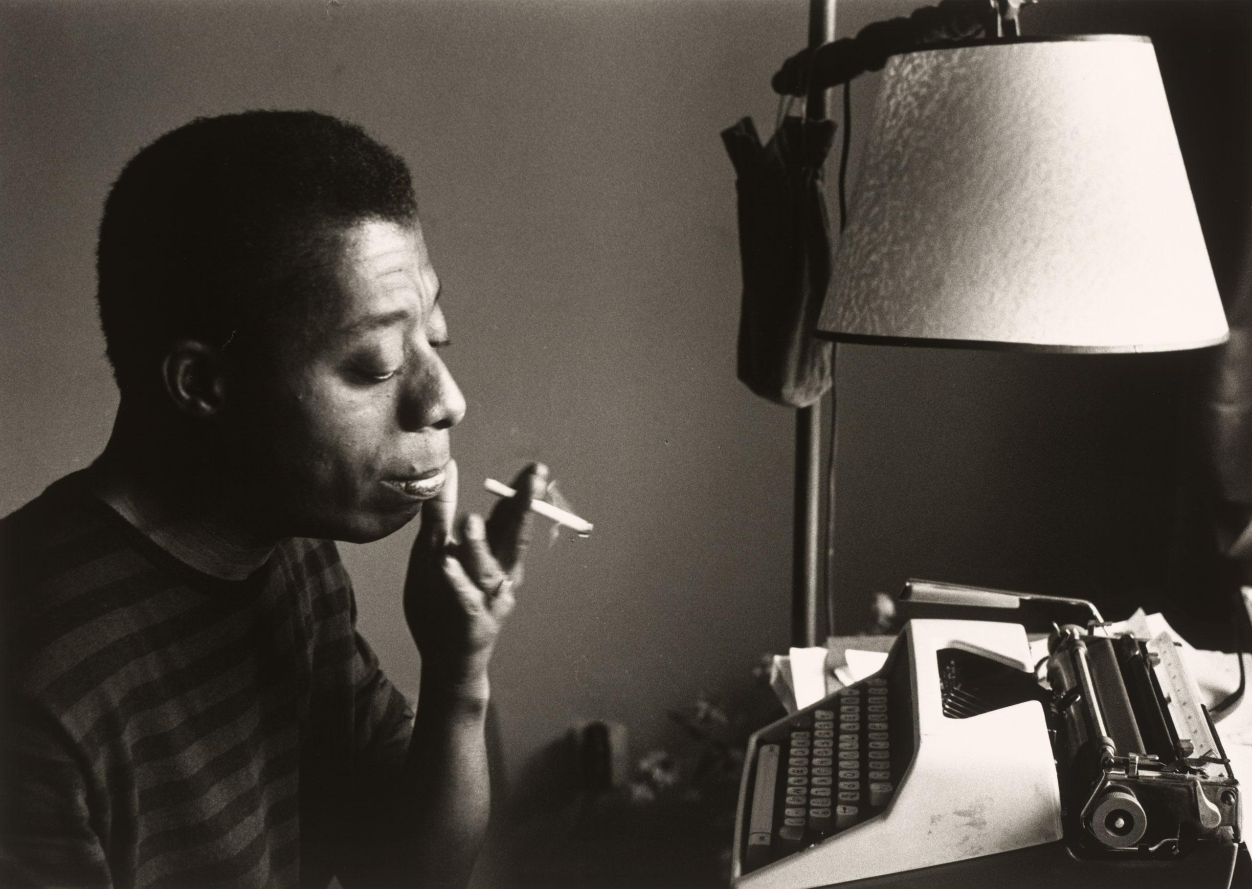 James Baldwin by his typewriter, Istanbul 1966.