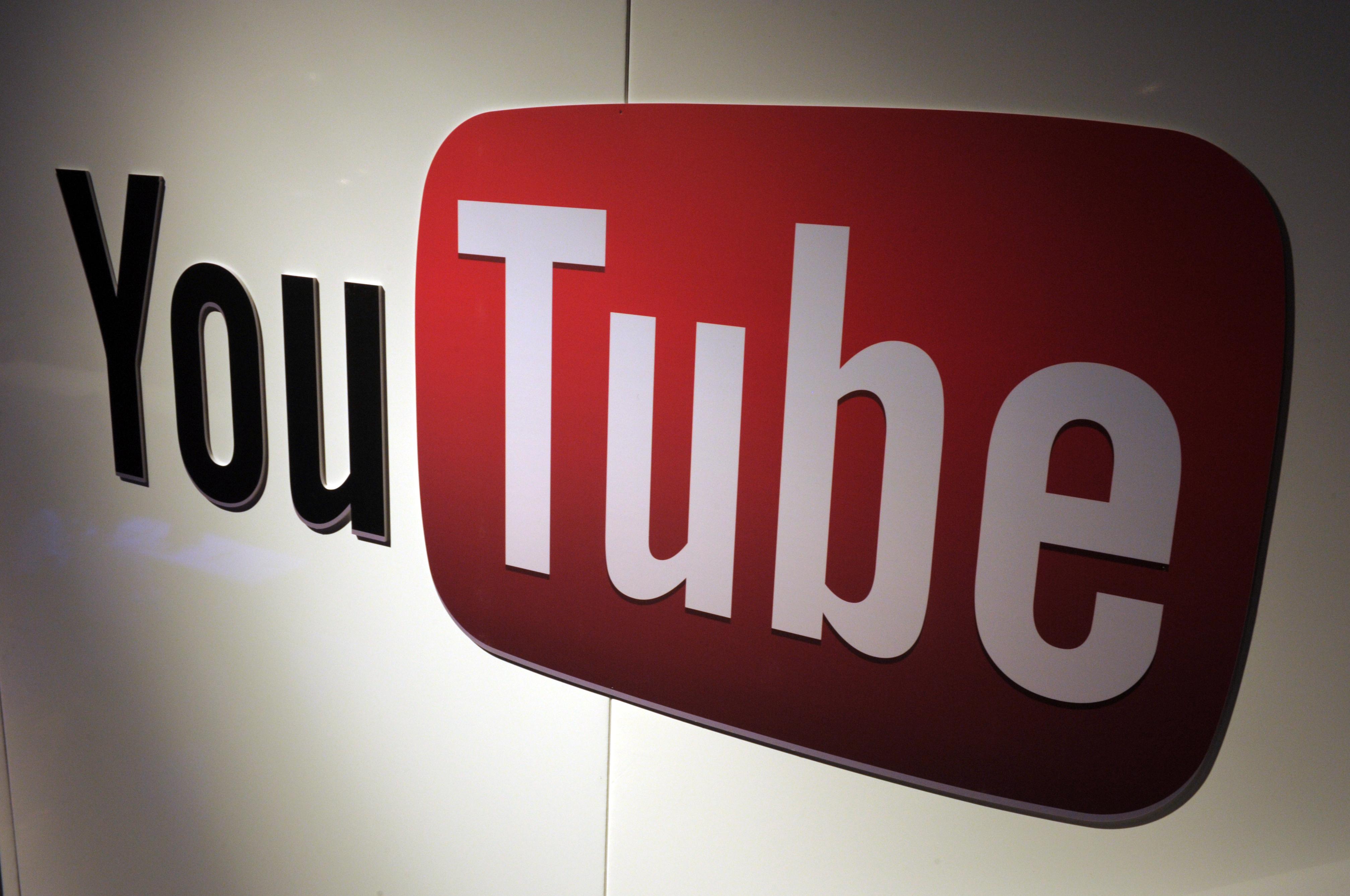 A picture shows a You Tube logo on December 4, 2012 during LeWeb Paris 2012 in Saint-Denis near Paris.