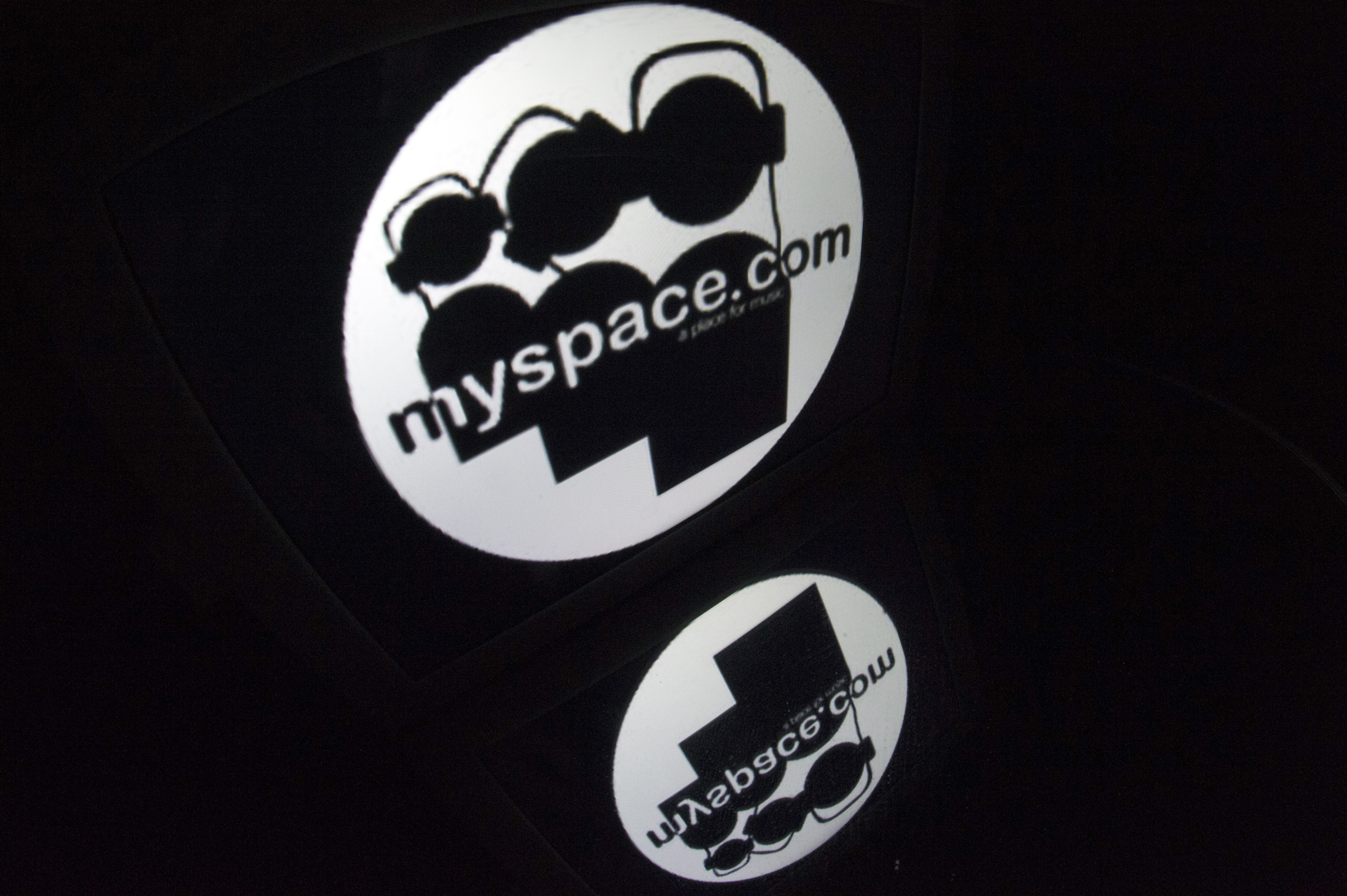 The  Myspace  logo is seen on a tablet screen on December 4, 2012 in Paris.