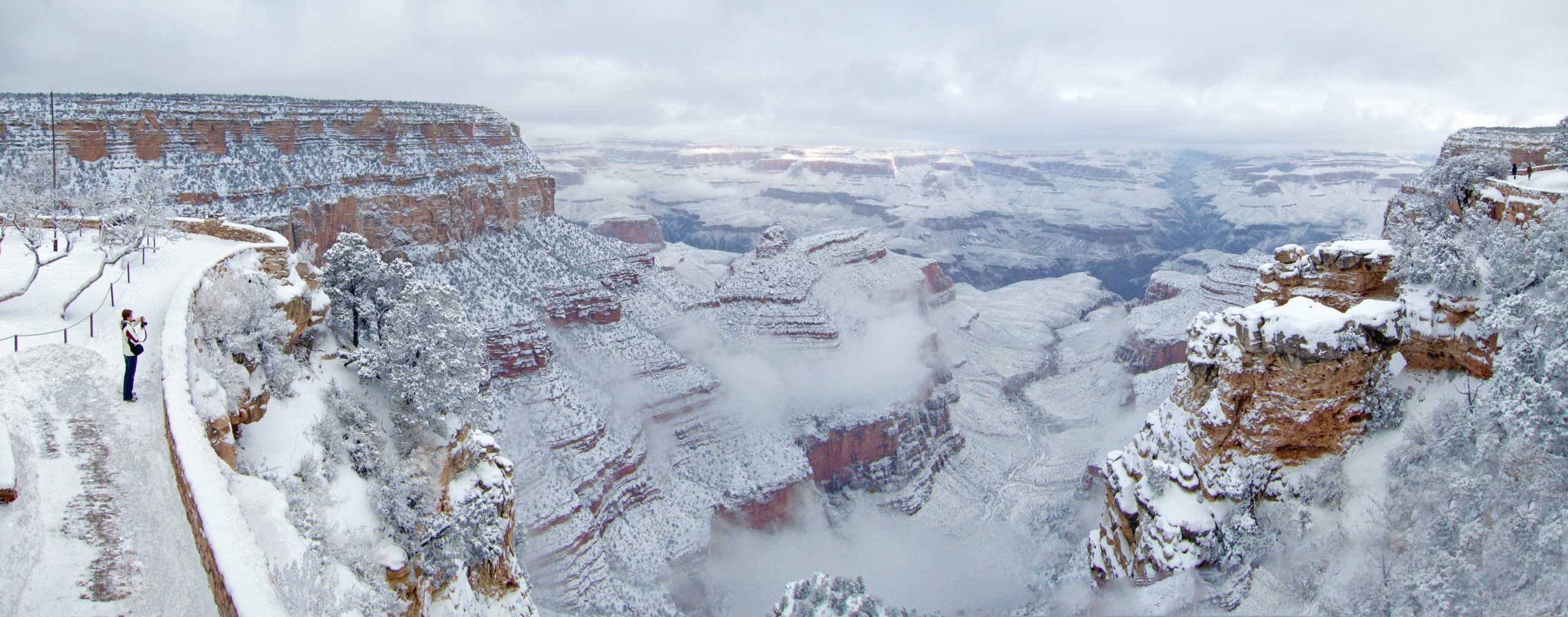 The Grand Canyon, blanketed in snow following a snowstorm, on New Year's Day.