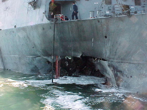 The USS Cole following the AQAP attack.