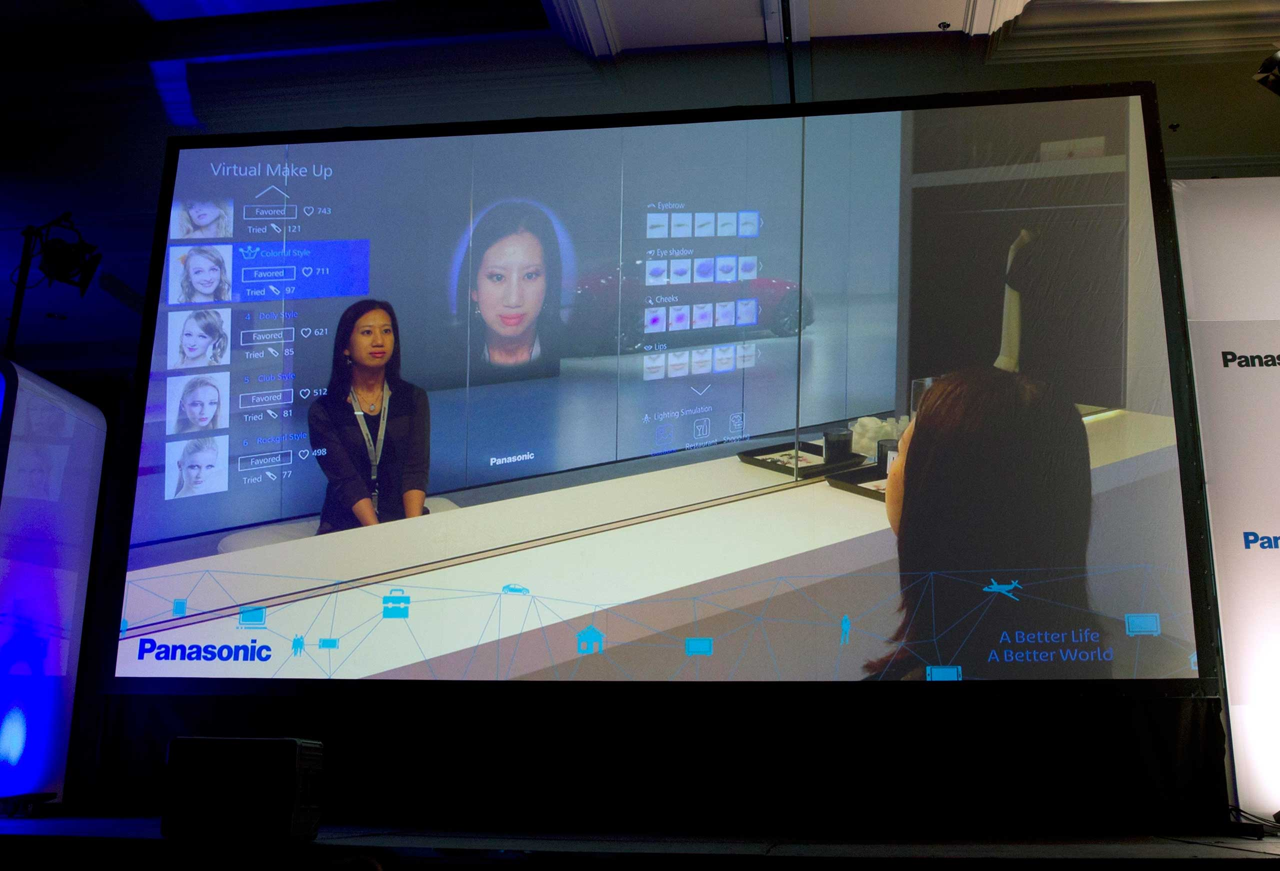 A display shows Panasonic's virtual make-up mirror at a Panasonic news conference on Jan. 5 , 2015.