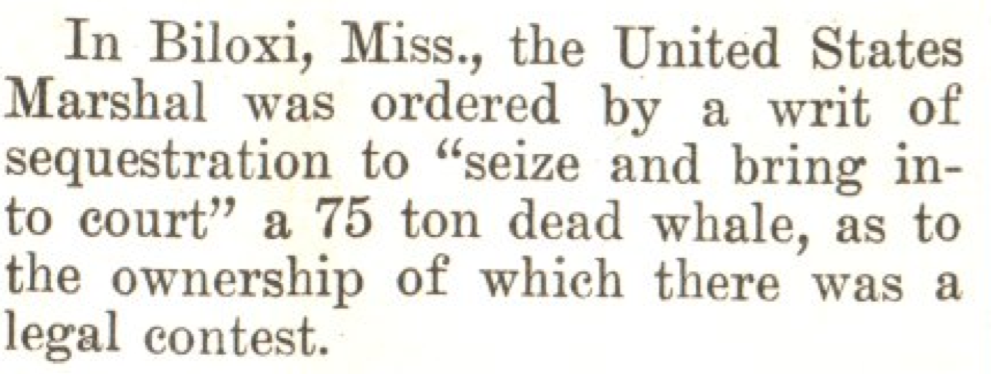 From the Apr. 28, 1923, issue of TIME. Perhaps the world's only baleen bailiff.