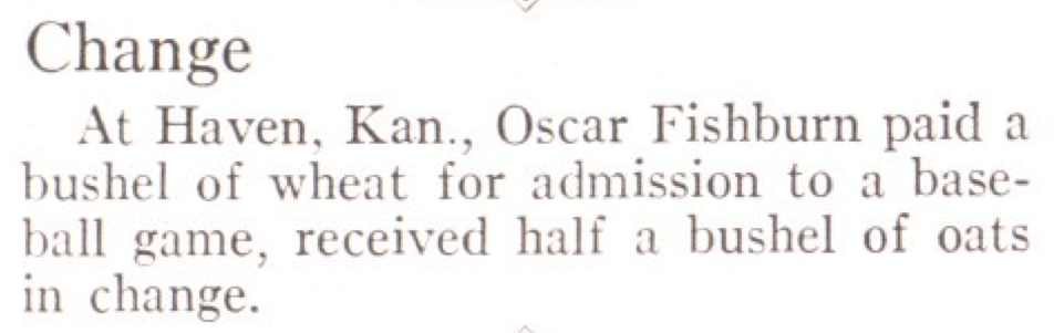 From the Aug. 10, 1931, issue of TIME. The ex-grain-ge rate was pretty good.