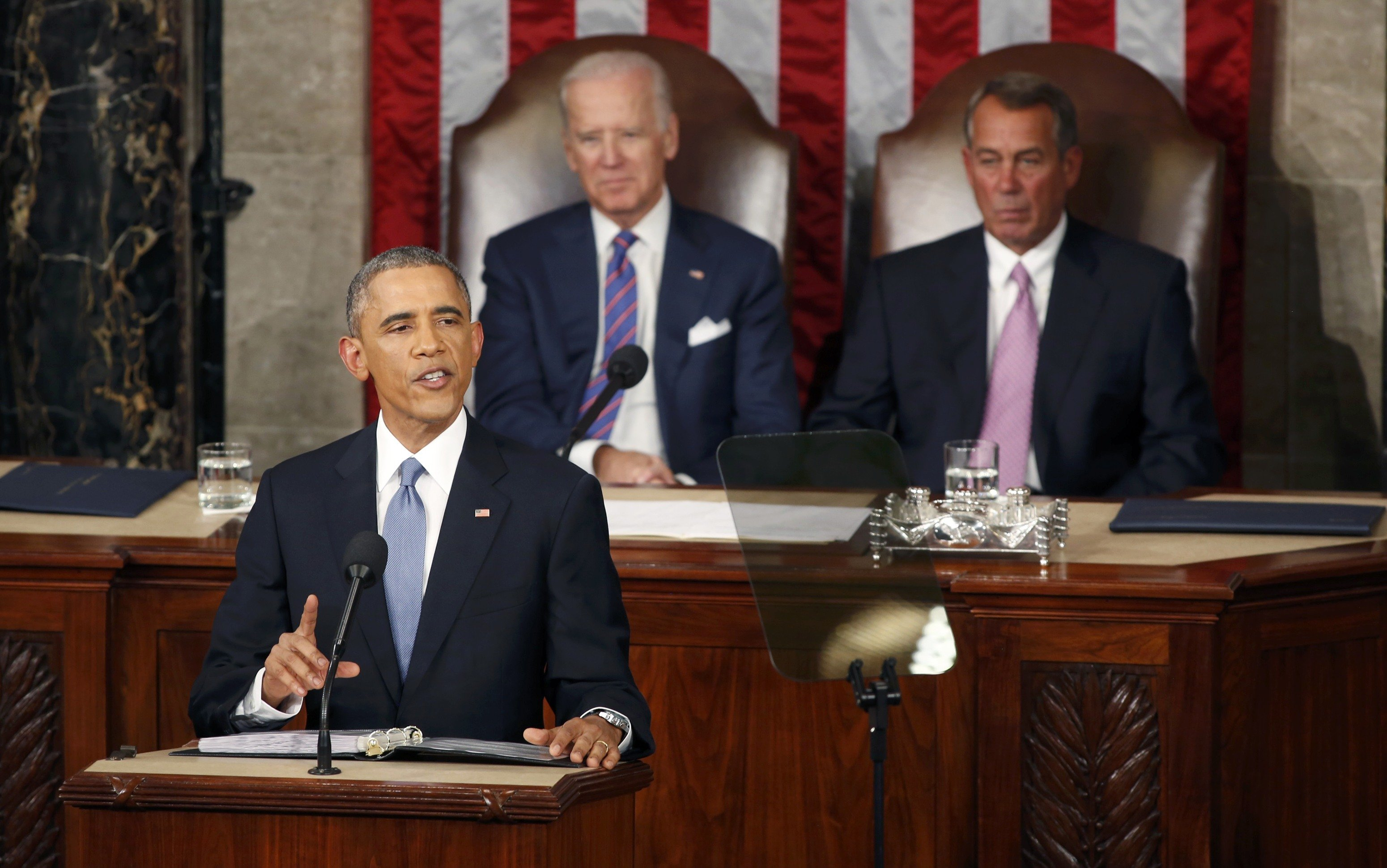 President Barack Obama delivers his State of the Union address to a joint session of the U.S. Congress on Capitol Hill in Washington on Jan. 20, 2015.