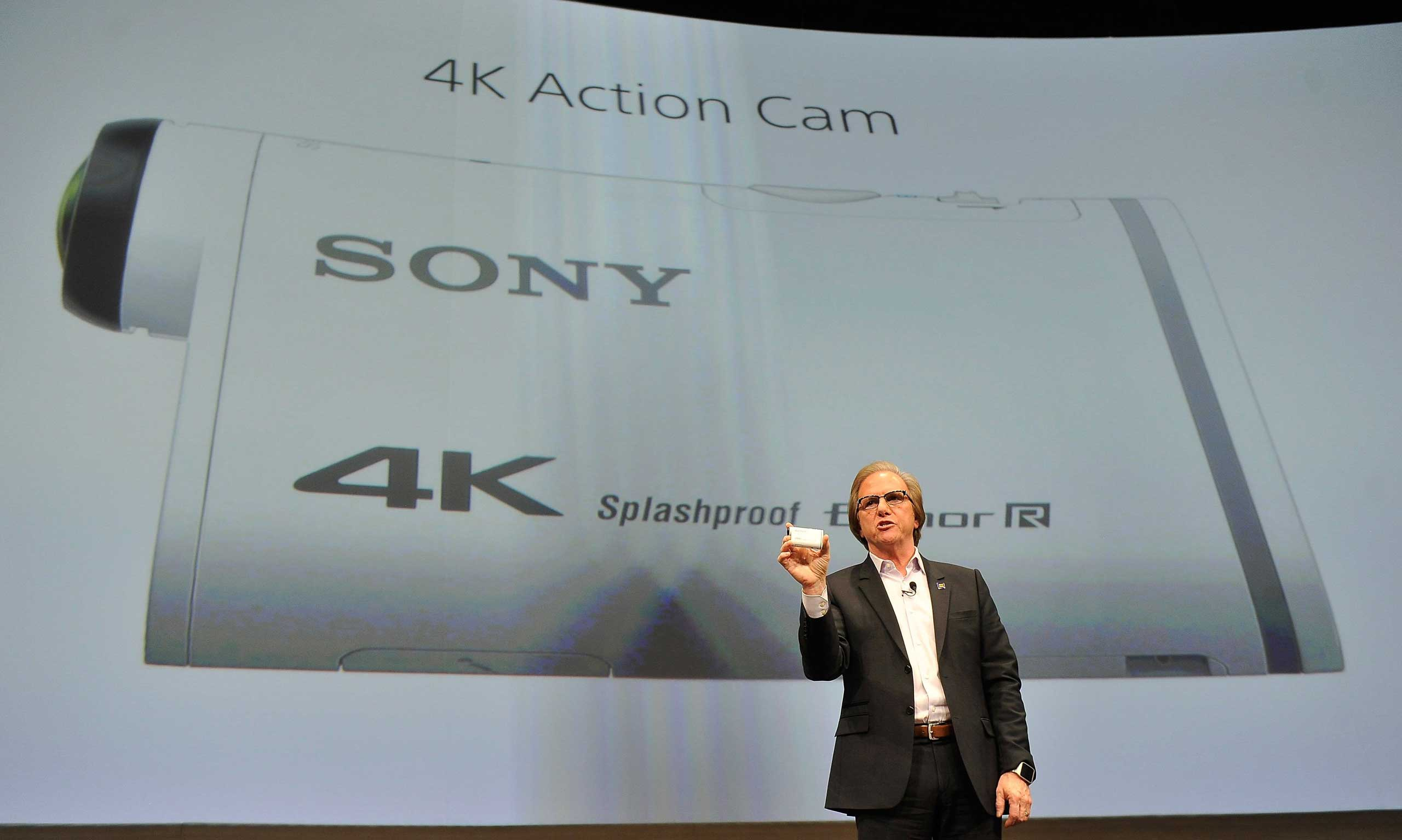 Sony Electronics President and COO Mike Fasulo displays the Sony 4K Action Cam at a press event on Jan. 5, 2015.