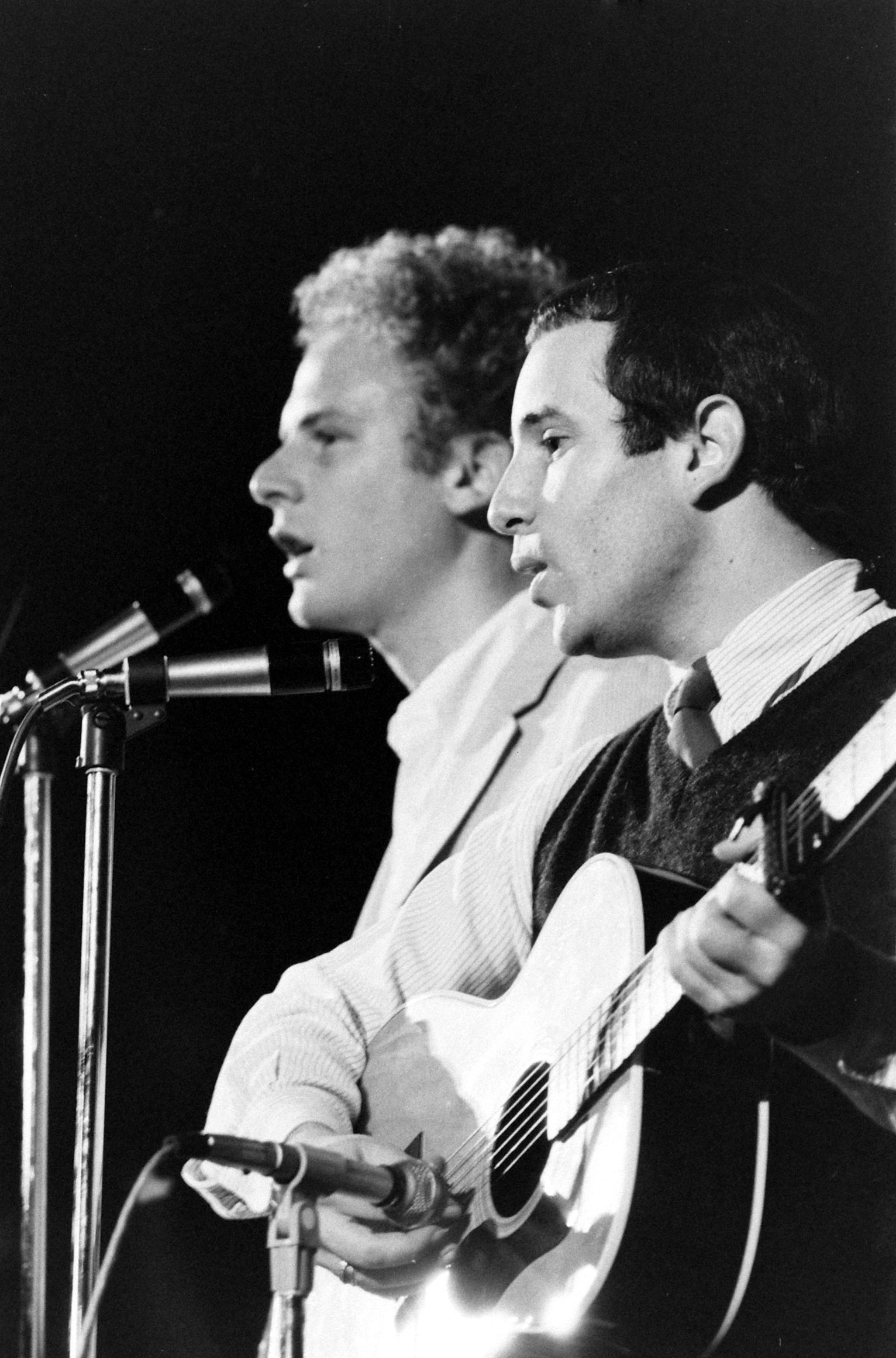 Simon and Garfunkel have collected nine Grammys and a Lifetime Achievement Award. Pictured here performing in Philadelphia, 1968.