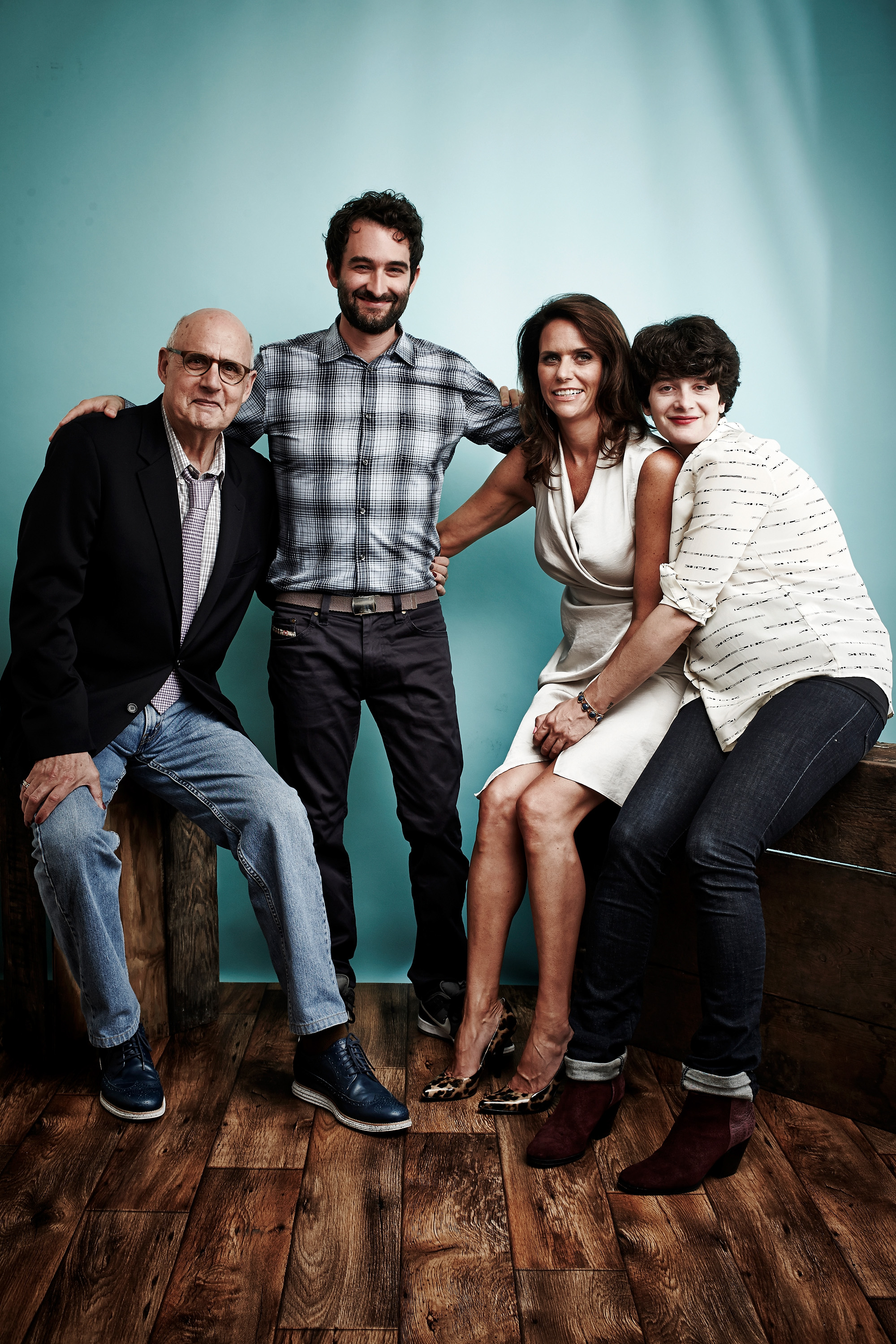 (L-R) Actors Jeffrey Tambor, Jay Duplass, Amy Landecker and Gaby Hoffmann from 'Transparent' pose for a portrait during 2014 Television Critics Association Summer Tour on July 12, 2014 in Beverly Hills, Calif.