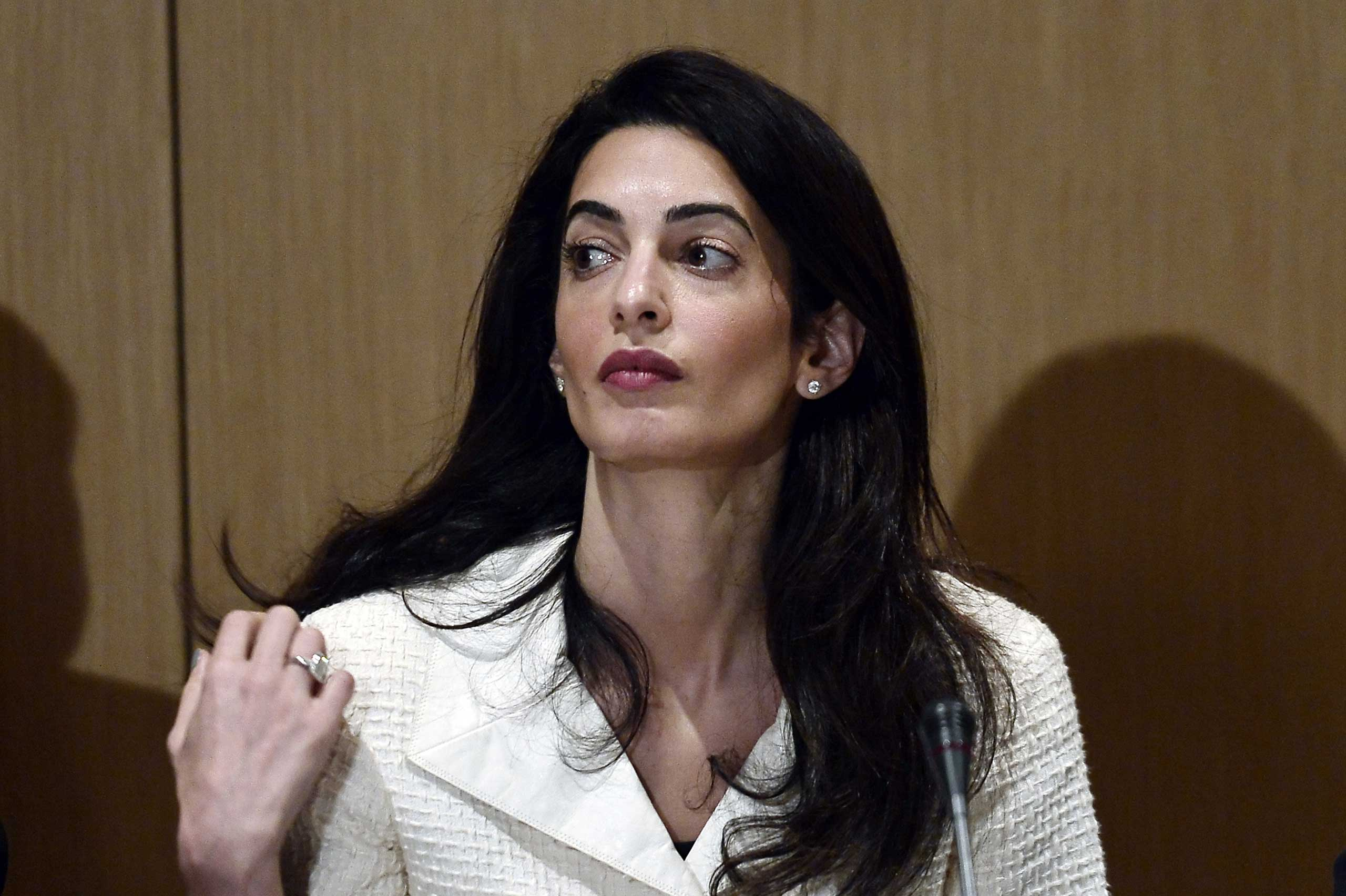 Human-rights lawyer Amal Alamuddin Clooney looks on during a press conference at the Acropolis museum in Athens on Oct. 15, 2014.
