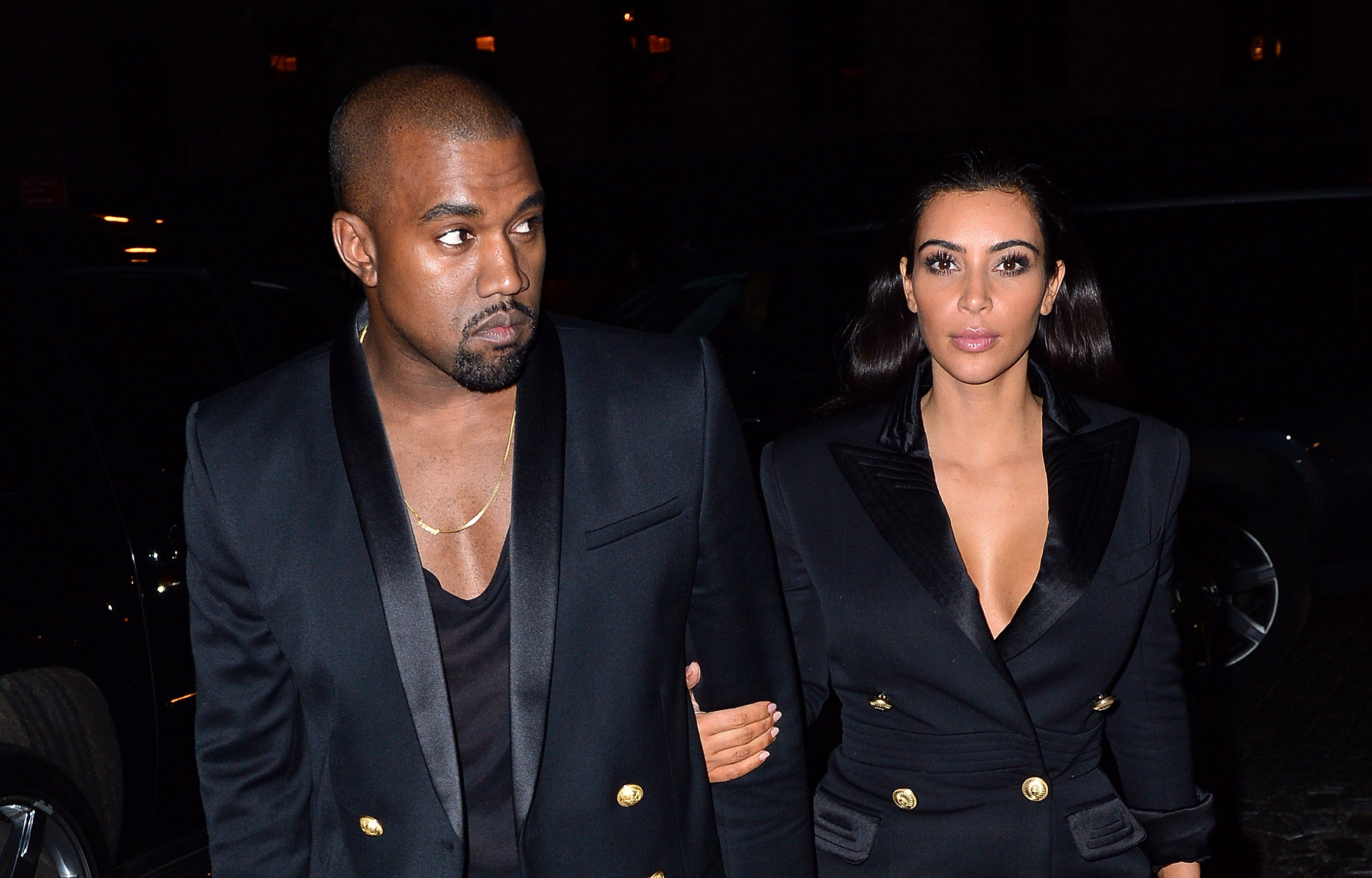 Kanye West and Kim Kardashian arrive to Soho House New York.