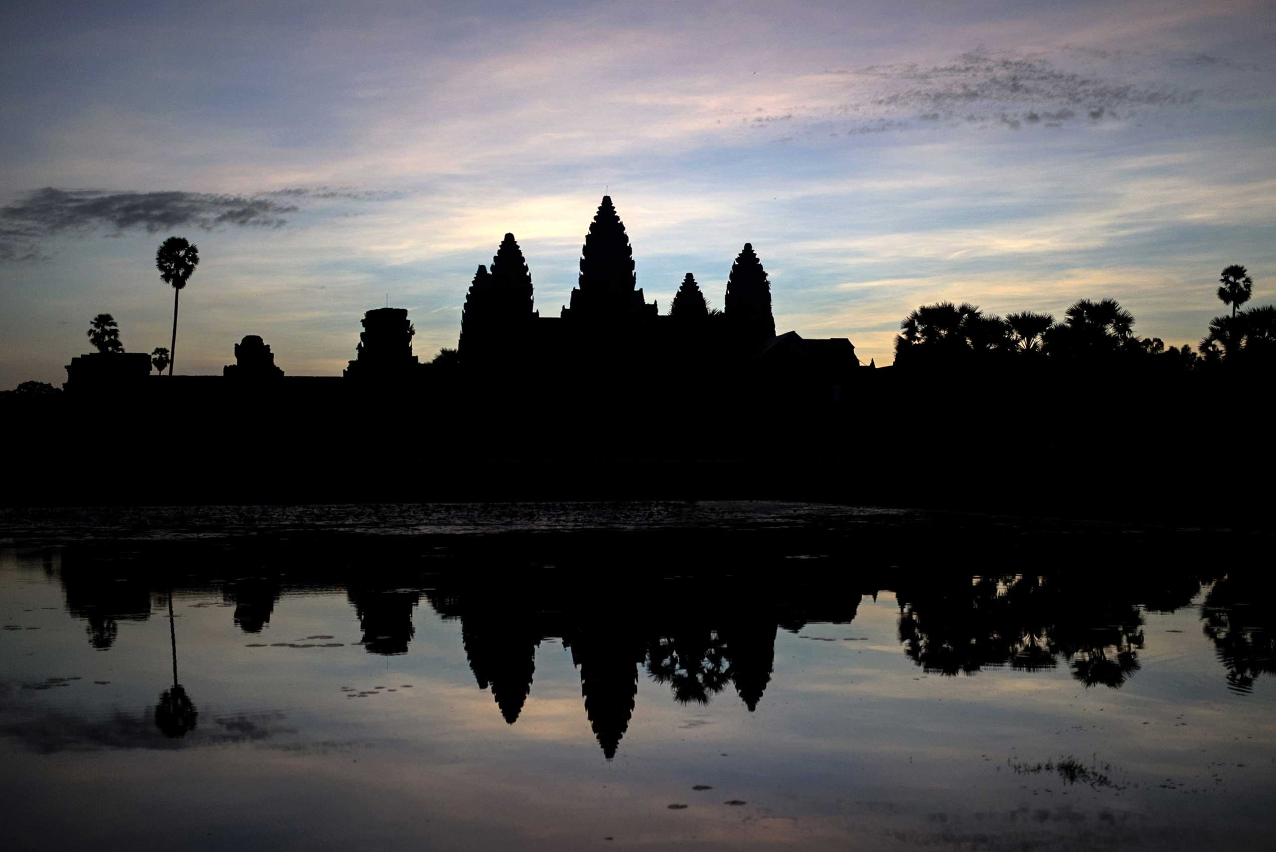 The Angkor Wat temple complex at sunrise in Cambodia's Angkor National Park, Siem Reap province, Nov. 8, 2014.