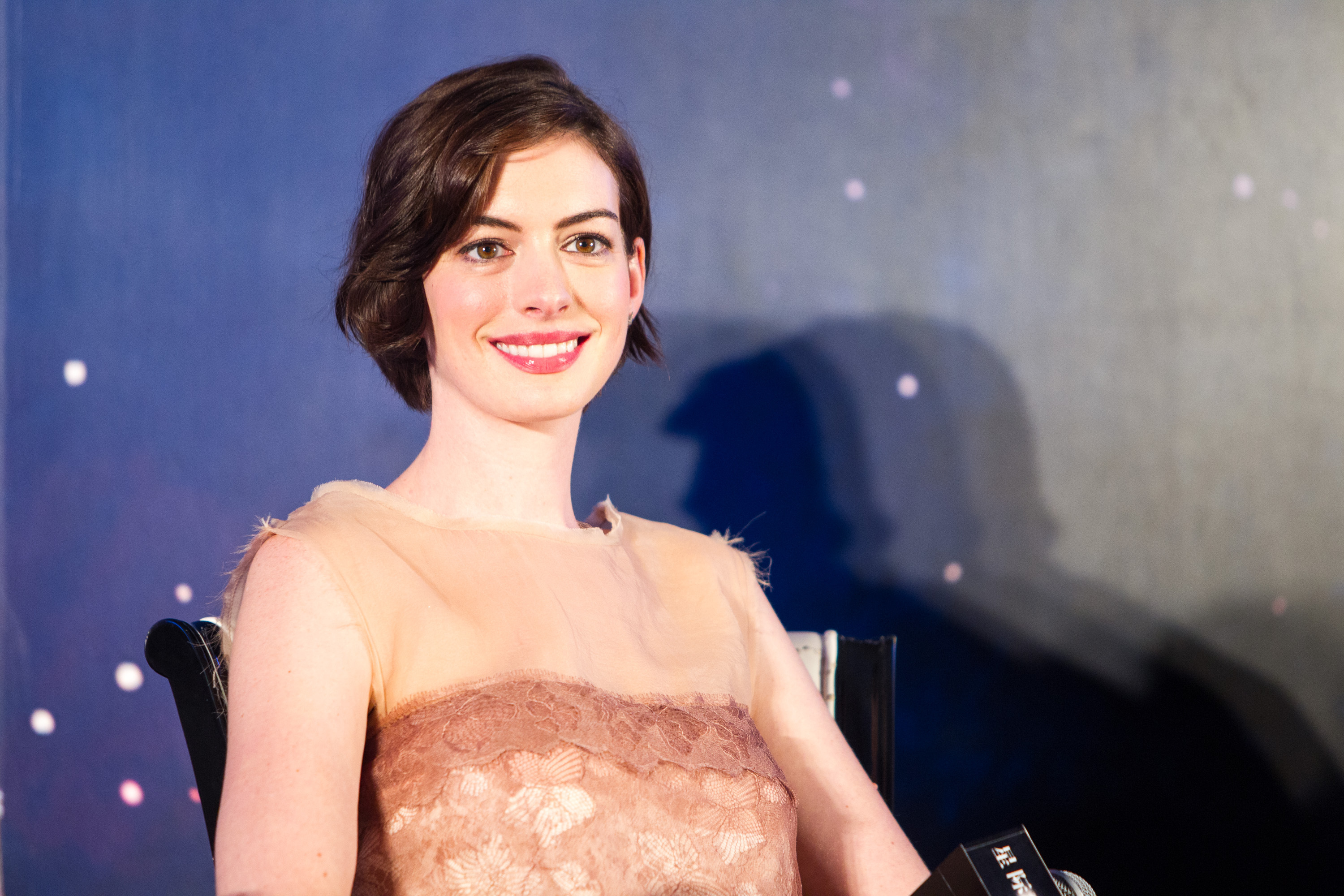 Actress Anne Hathaway attends Asian premiere of new movie  Interstellar  directed by Christopher Nolan on November 10, 2014 in Shanghai, China.